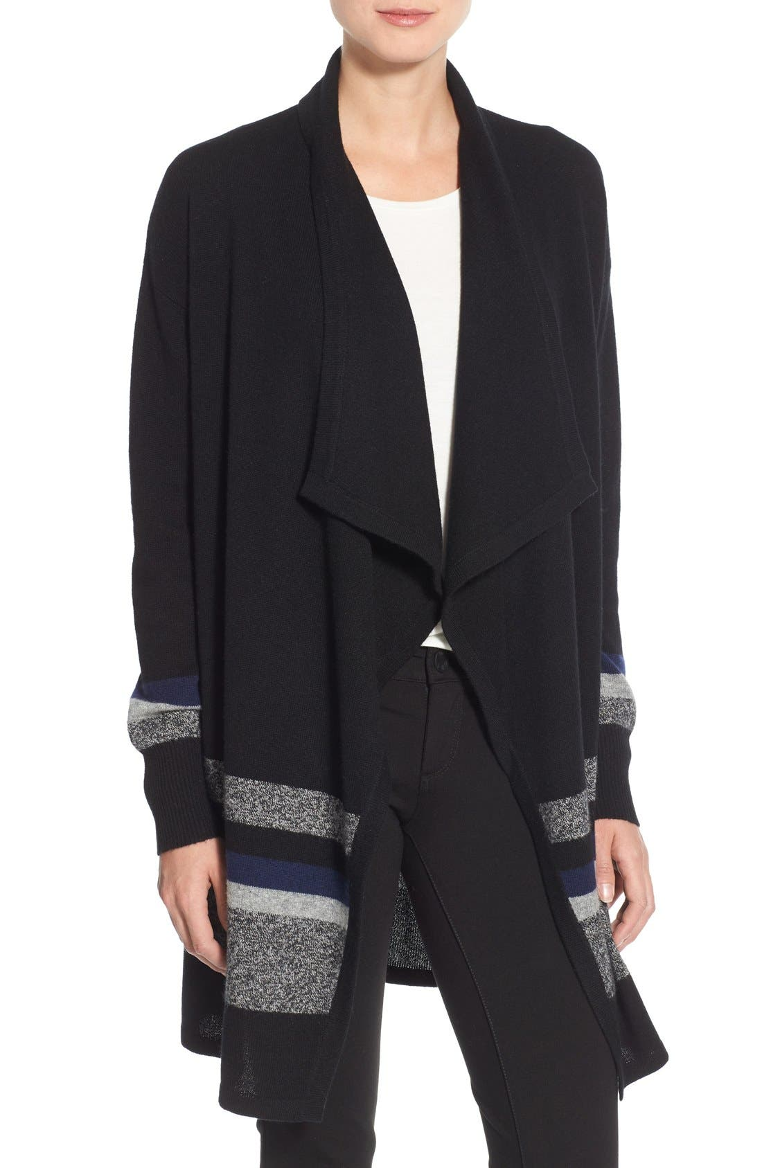 Cashmere Long Drape Front Cardigan,                             Main thumbnail 1, color,                             001