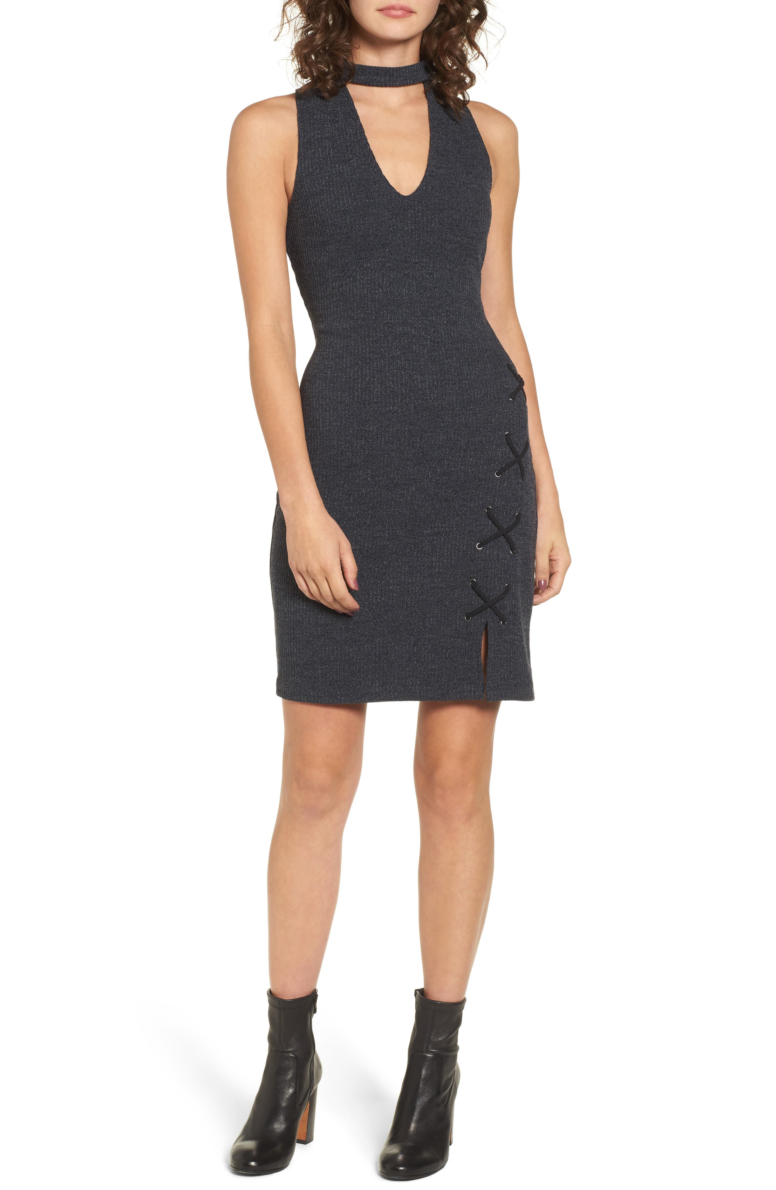 Monica Choker Neck Sweater Dress,                         Main,                         color, 020