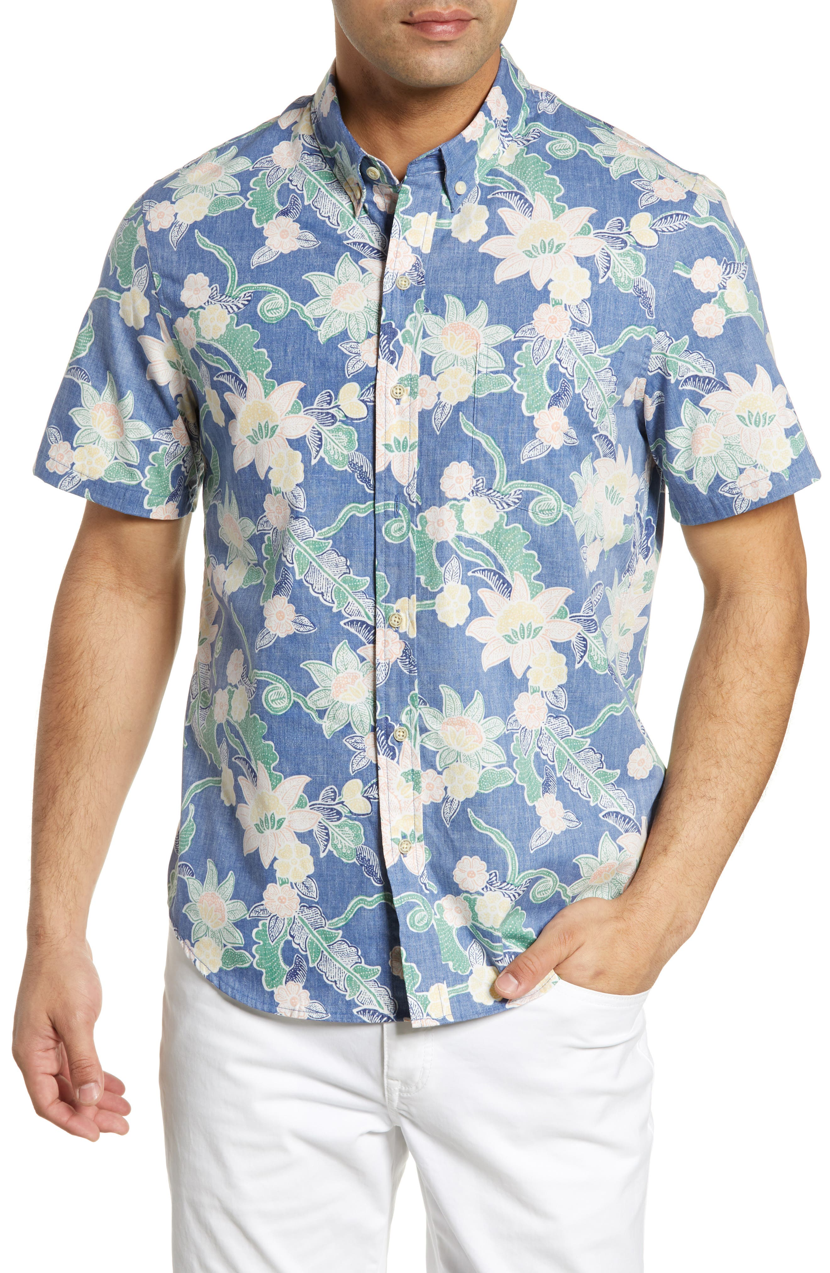 Reyn Spooner Mahaloha Patterned Sport Shirt, Blue