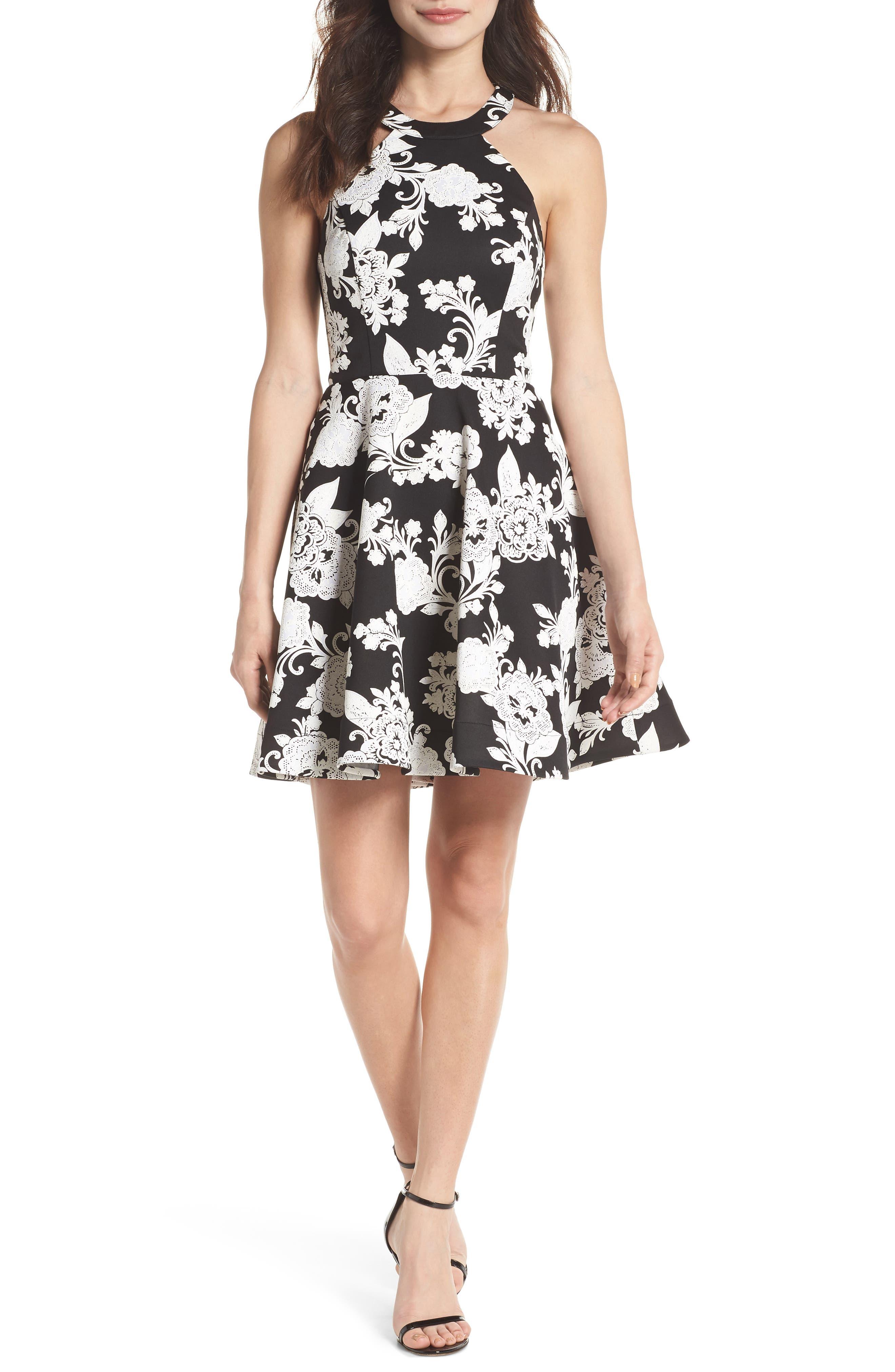 Strappy Back Scuba Halter Dress,                         Main,                         color, BLACK/ CREAM