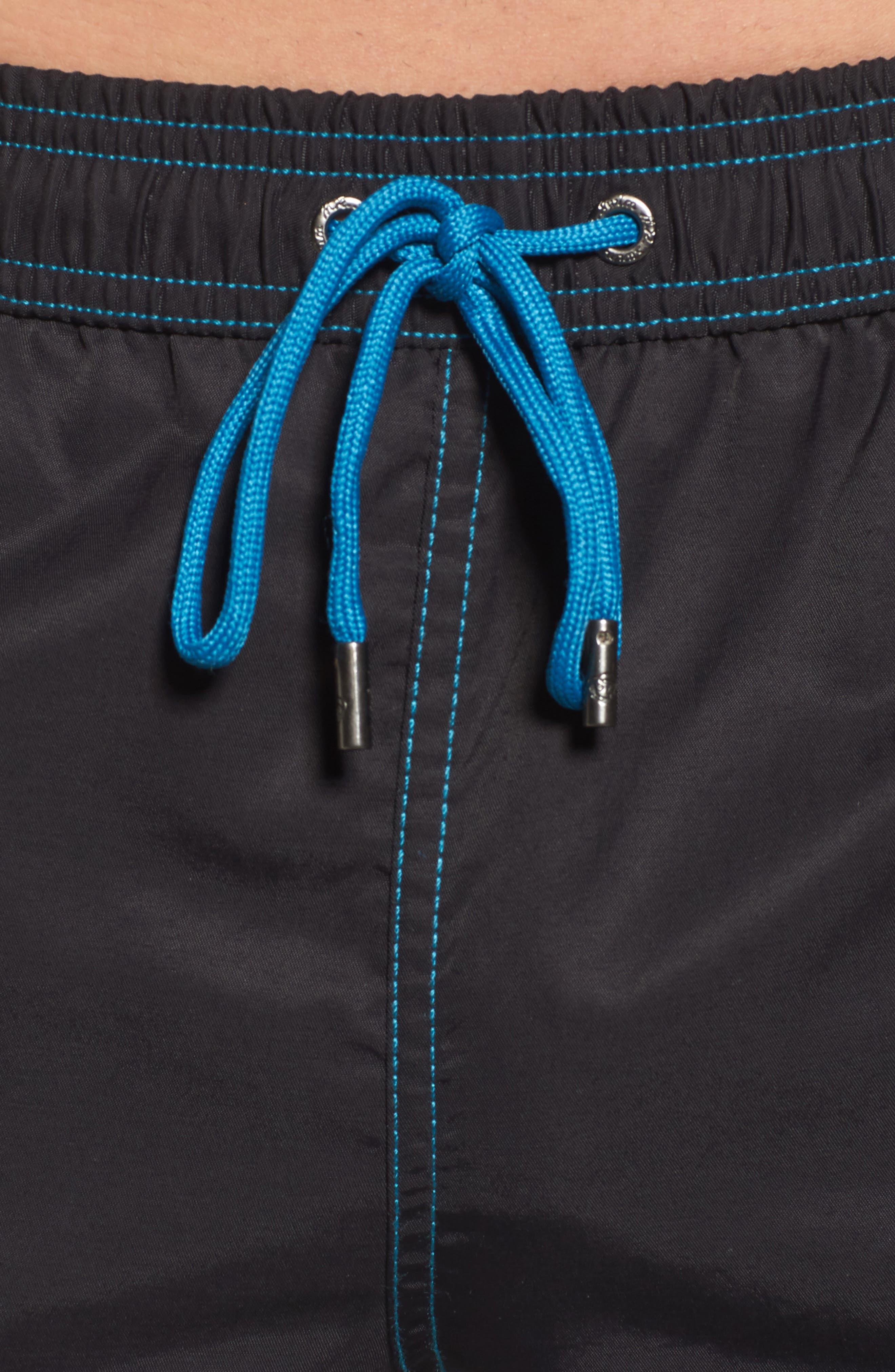 Mr. Swim Colorblock Print Swim Trunks,                             Alternate thumbnail 4, color,                             BLACK