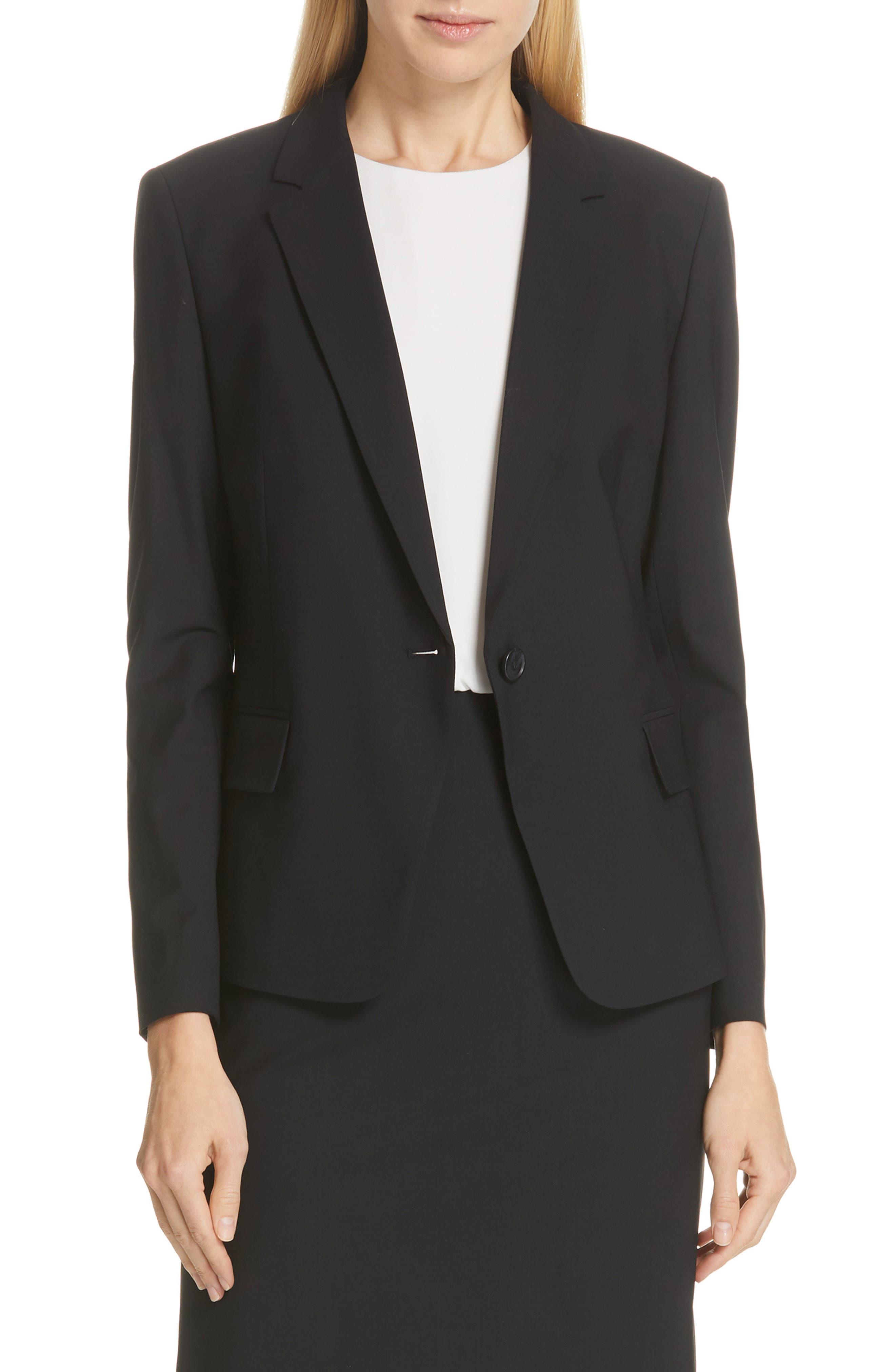 BOSS,                             Jaela Stretch Wool Suit Jacket,                             Main thumbnail 1, color,                             BLACK