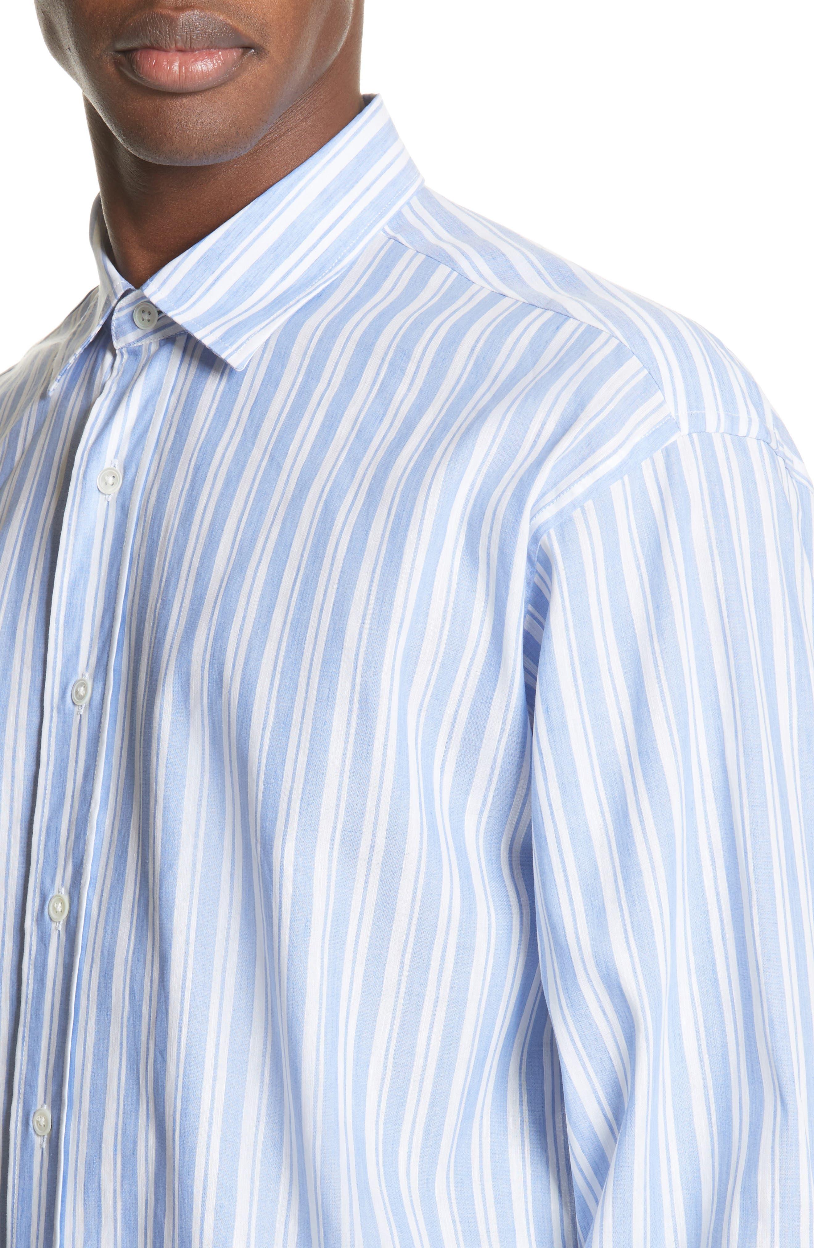 Oversized Stripe Chambray Shirt,                             Alternate thumbnail 4, color,                             460