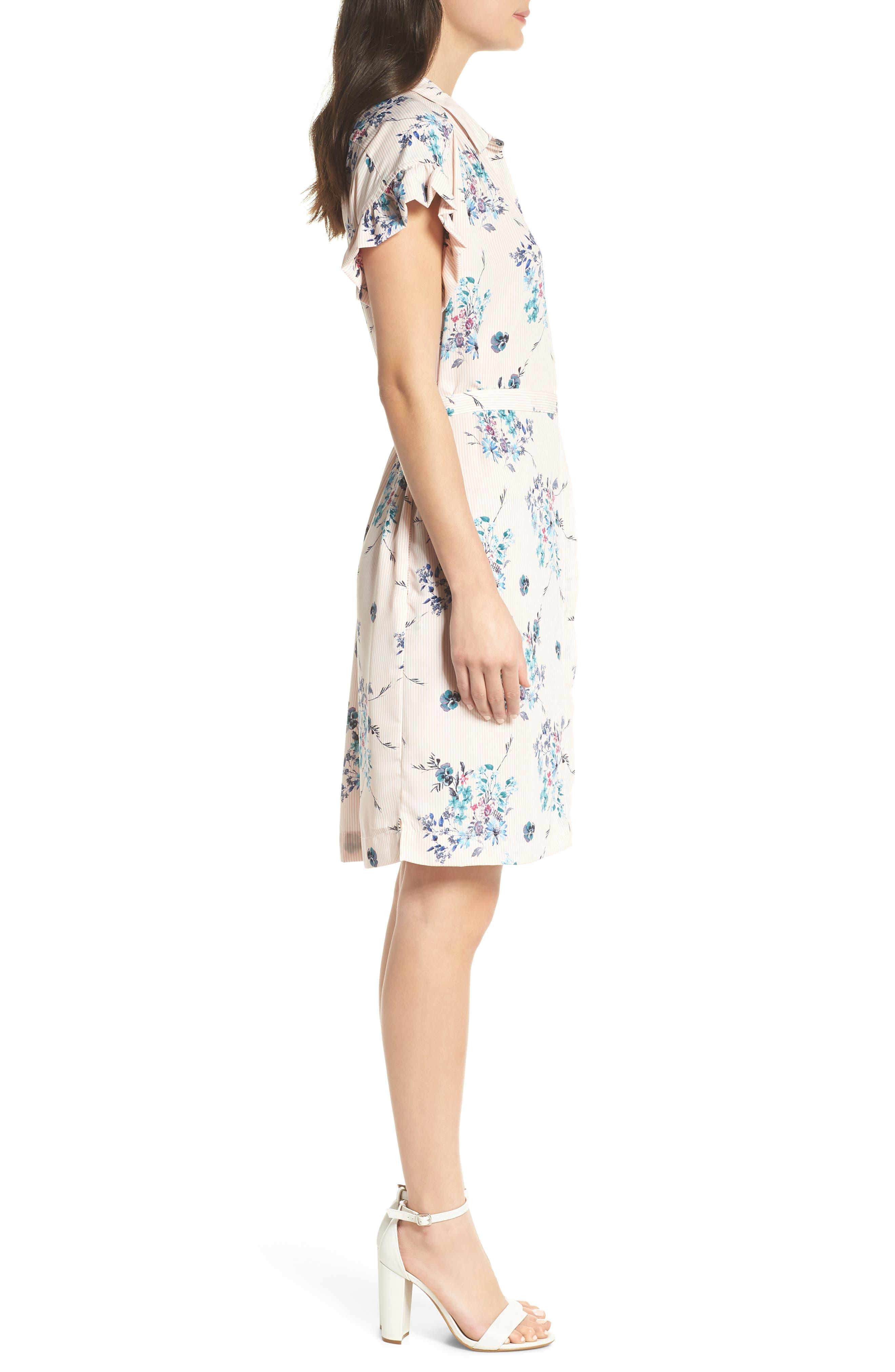 MARY & MABEL,                             Ruffle Sleeve Shirt Dress,                             Alternate thumbnail 3, color,                             652