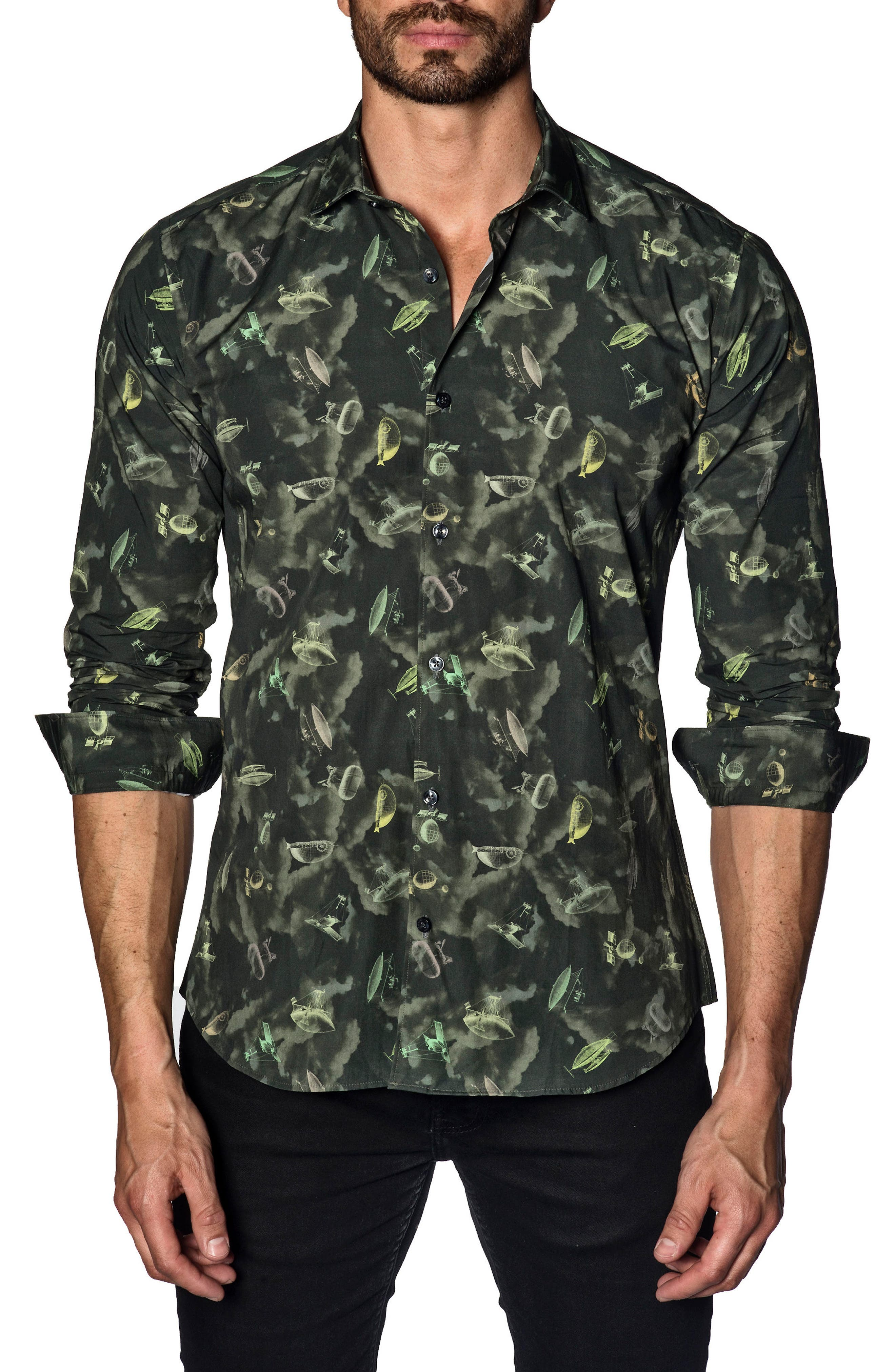 Trim Fit Sport Shirt,                         Main,                         color, GREEN ARMY PRINT
