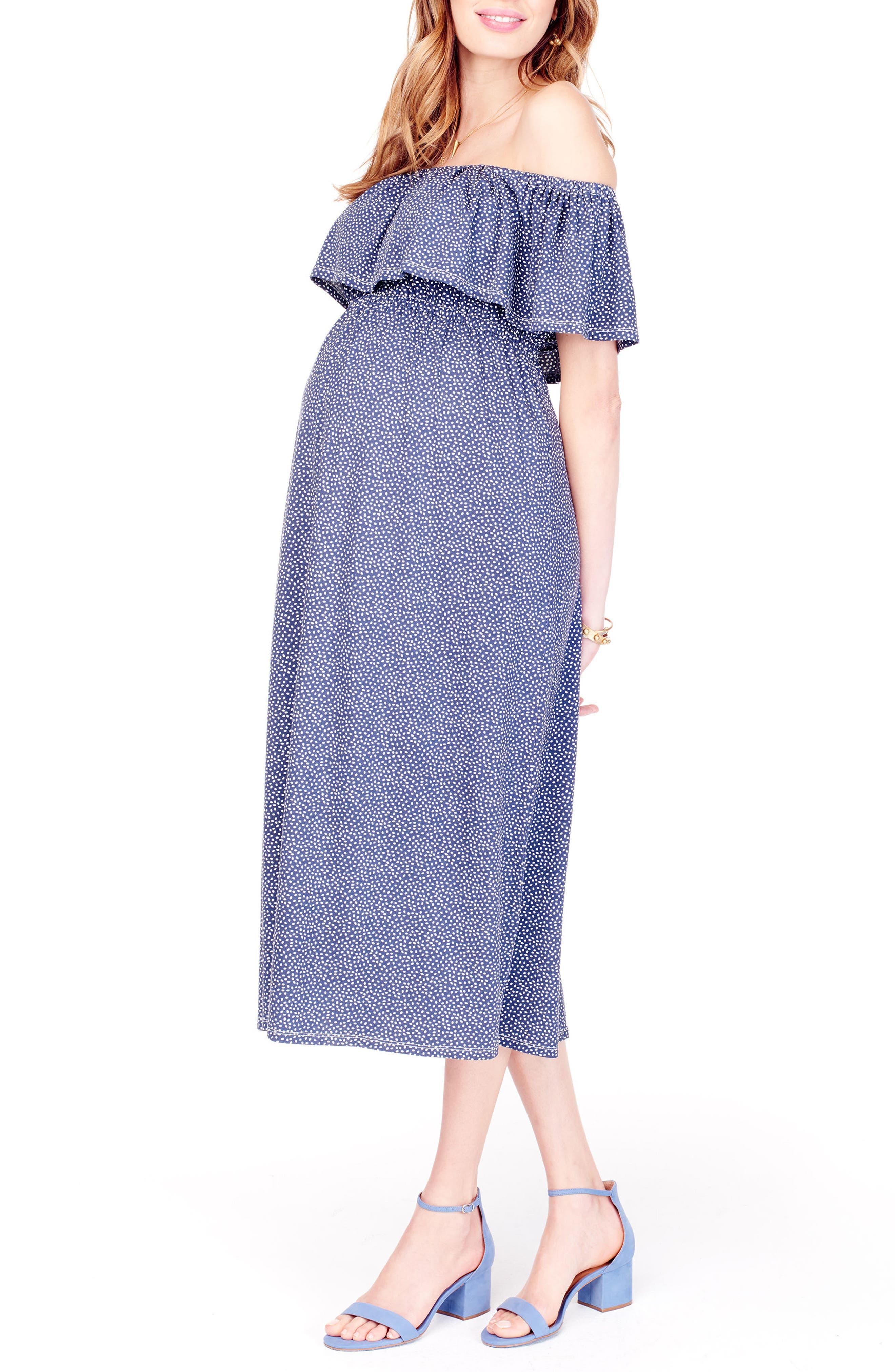 Off the Shoulder Maternity Midi Dress,                             Alternate thumbnail 3, color,                             NAVY TOSSED PETAL
