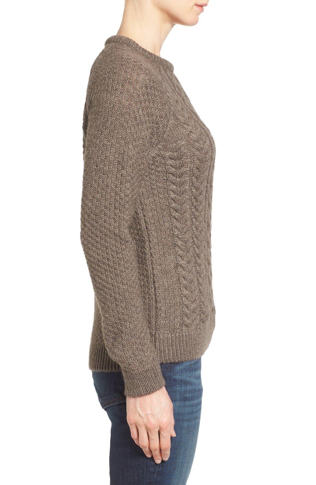 Cable Knit Crewneck Sweater,                             Alternate thumbnail 3, color,                             270