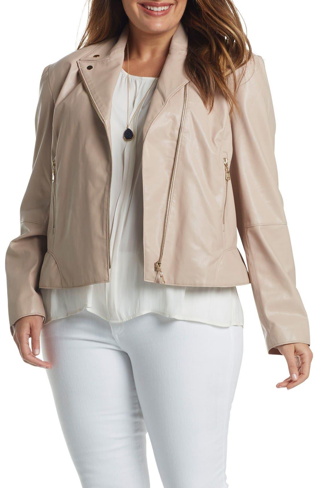 Mollie Faux Leather Jacket,                             Alternate thumbnail 6, color,                             681