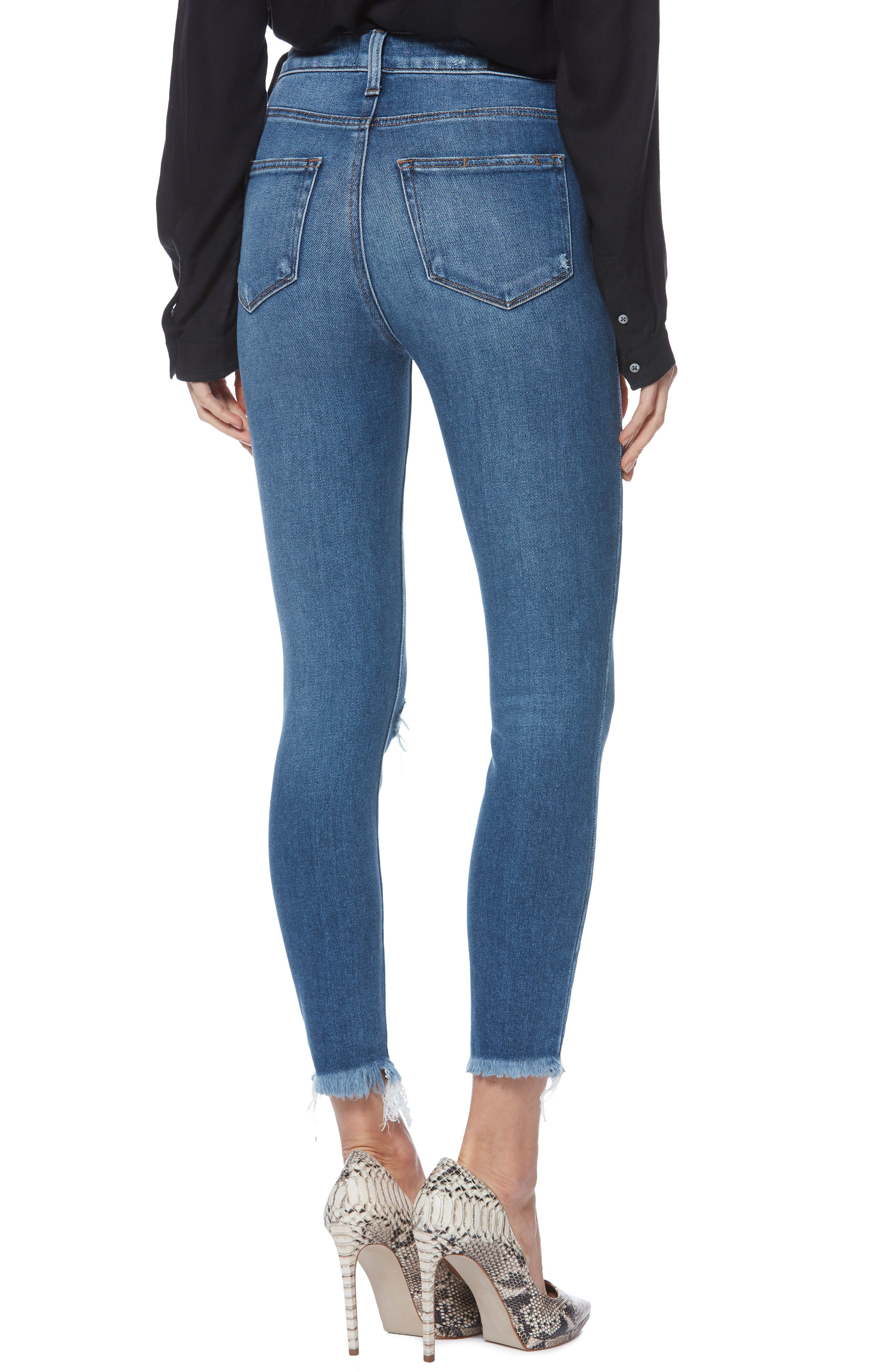 PAIGE,                             Margot High Waist Crop Skinny Jeans,                             Alternate thumbnail 2, color,                             ALESSIO DESTRUCTED