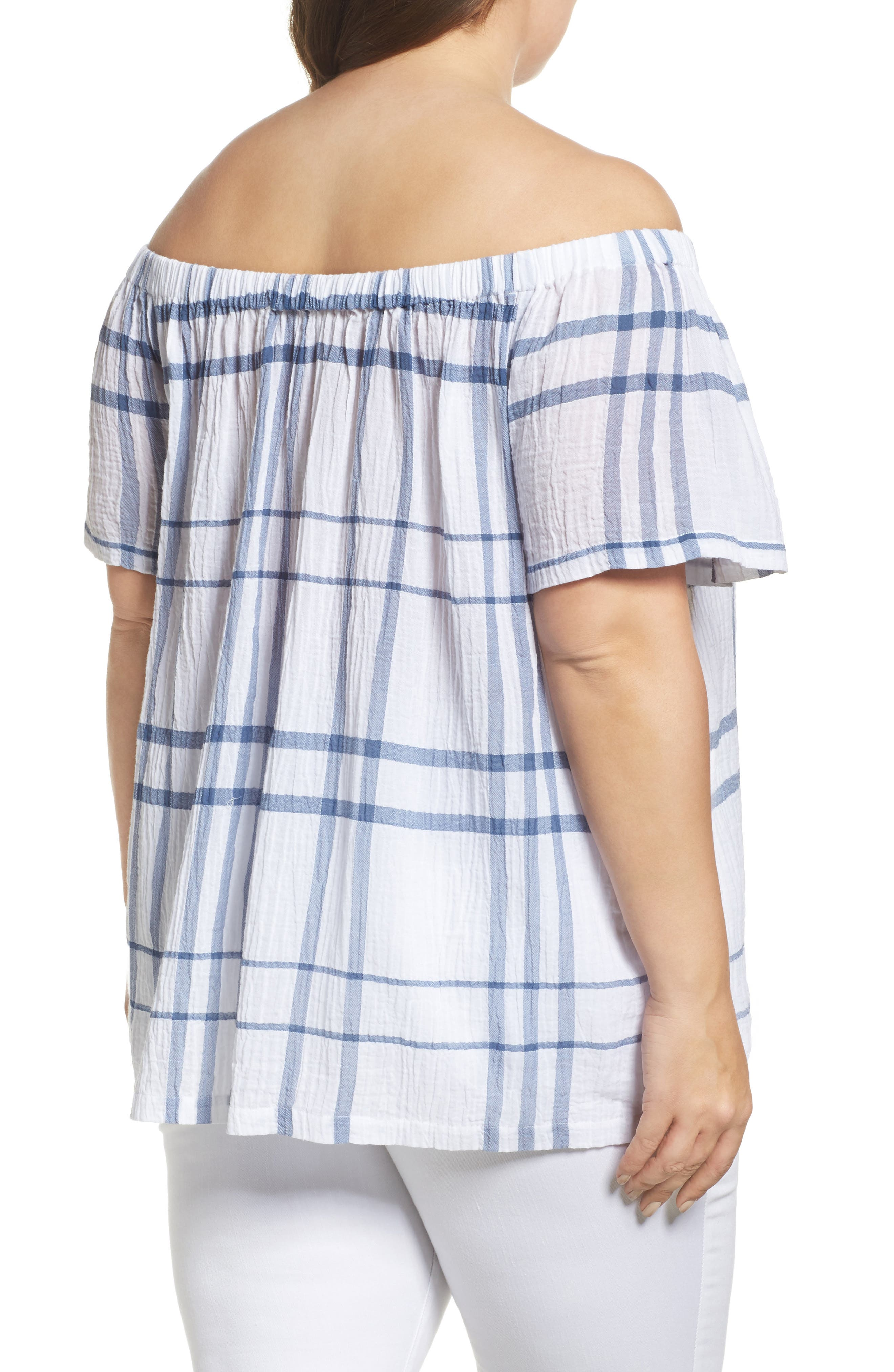 Vince Camuto Timeless Plaid Off the Shoulder Blouse,                             Alternate thumbnail 2, color,                             400