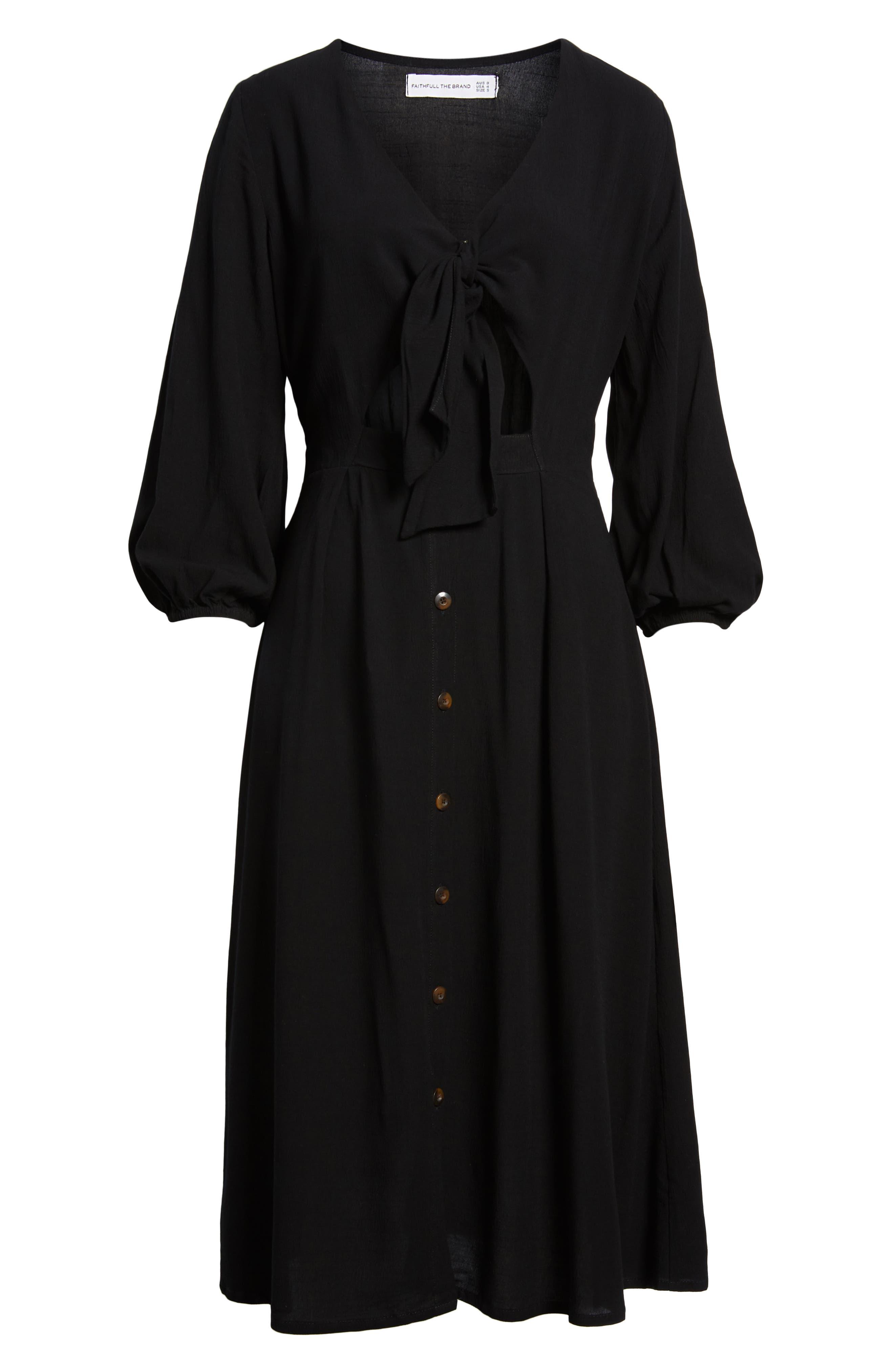 Tobago Tie Front Midi Dress,                             Alternate thumbnail 4, color,                             PLAIN BLACK