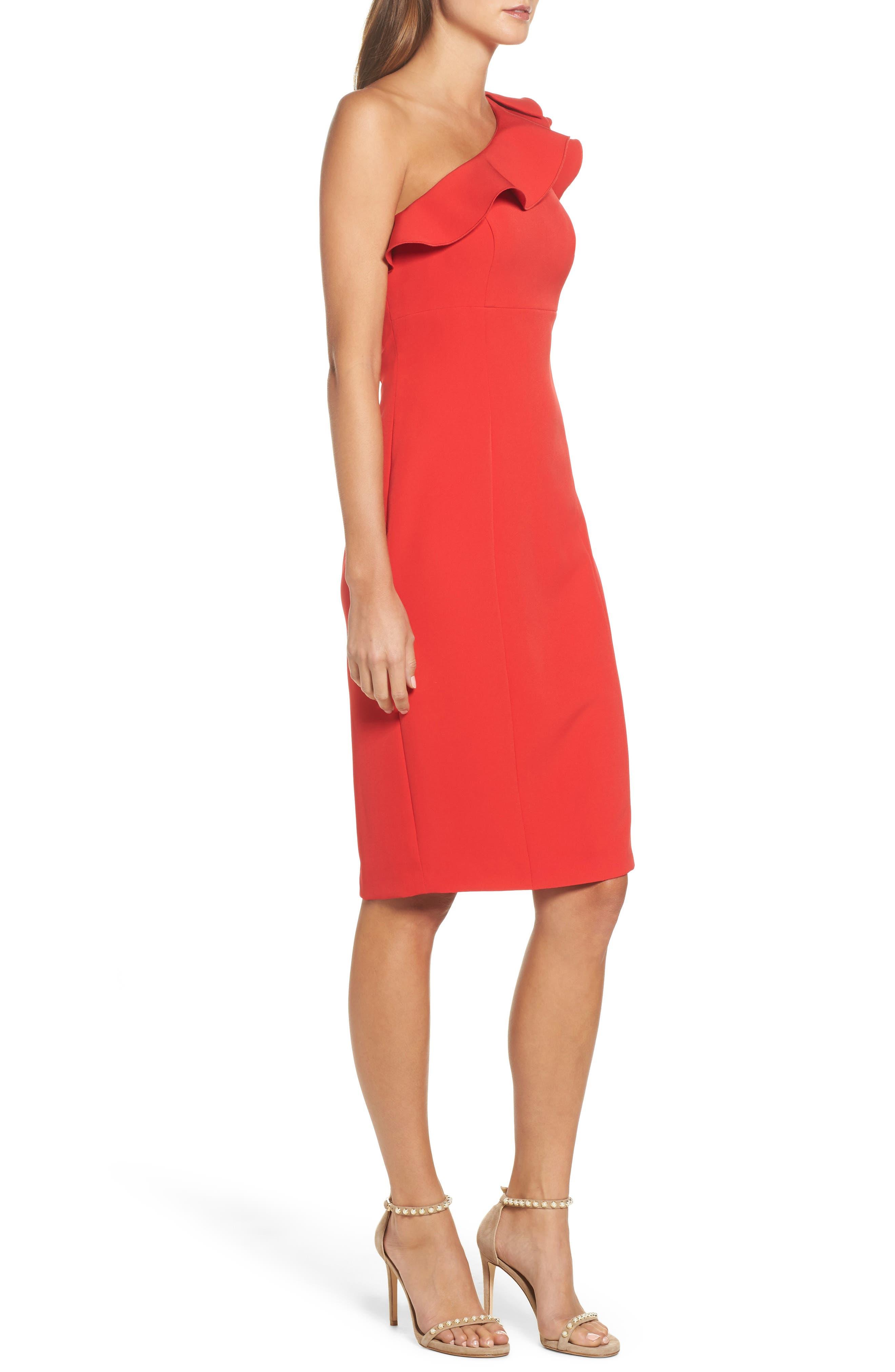 Ruffle One-Shoulder Dress,                             Alternate thumbnail 3, color,
