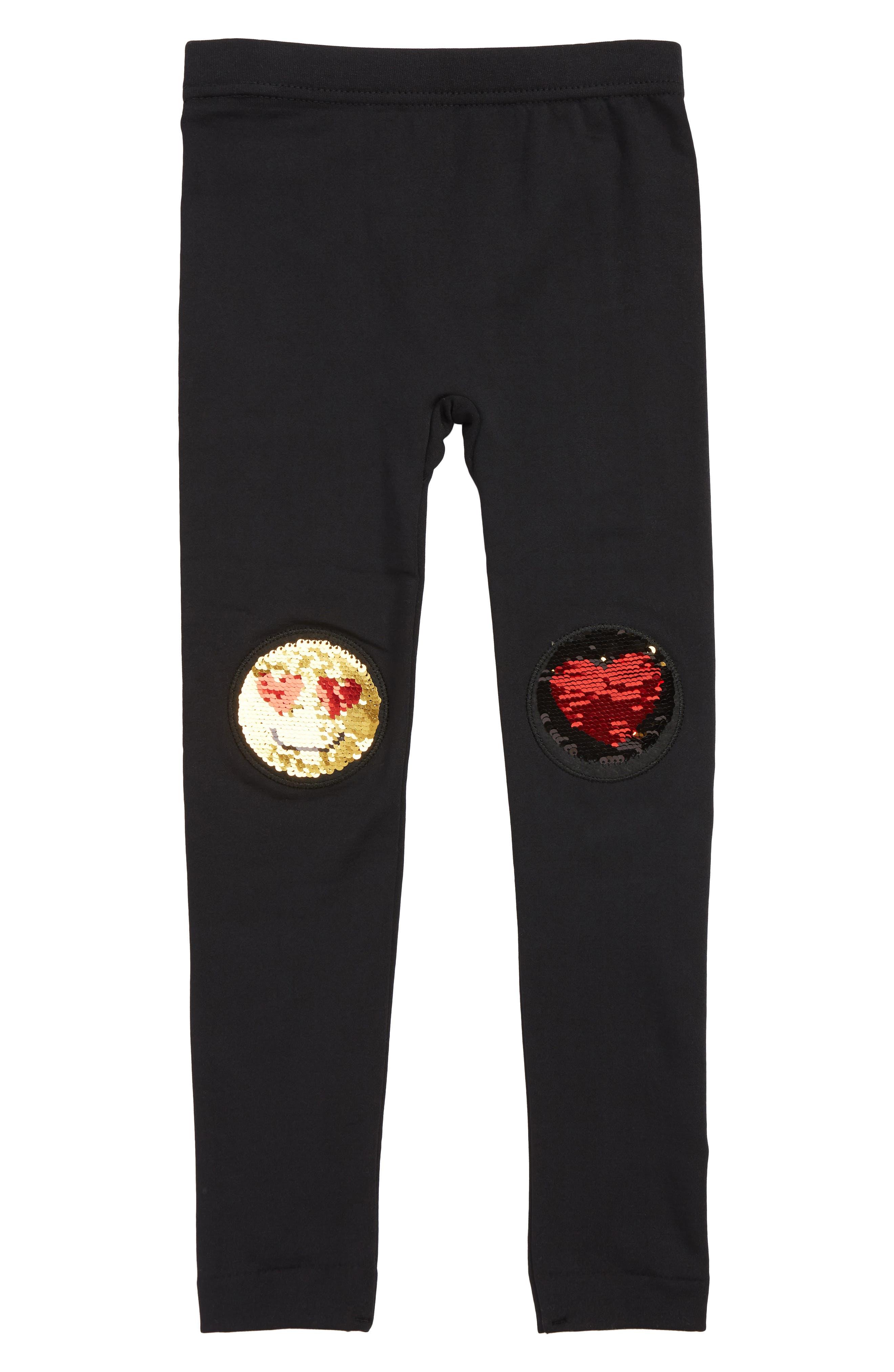 Smiley Heart Sequined Leggings,                         Main,                         color, BLACK