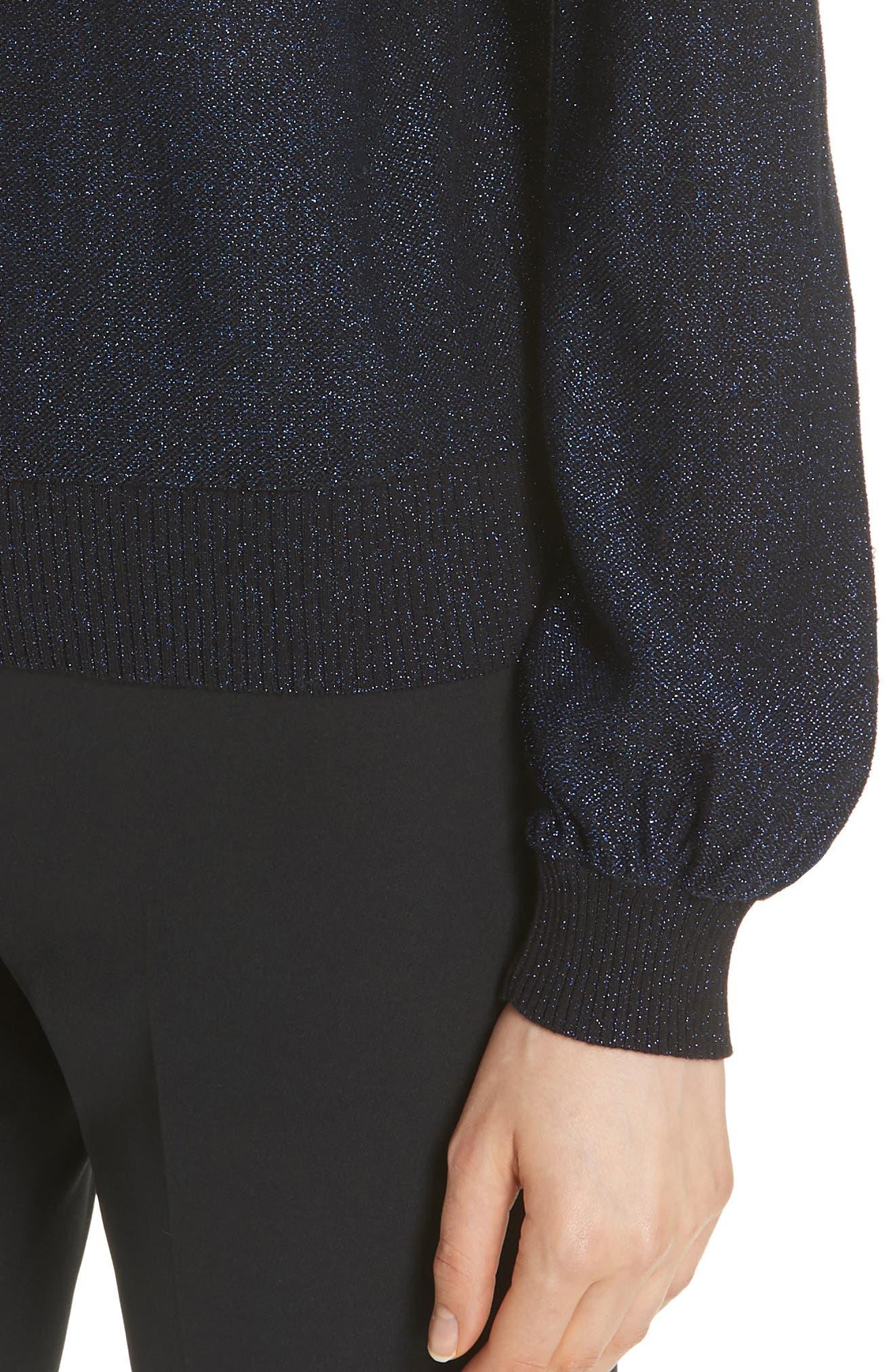 Metallic Shimmer Cotton Blend Sweater,                             Alternate thumbnail 4, color,                             430