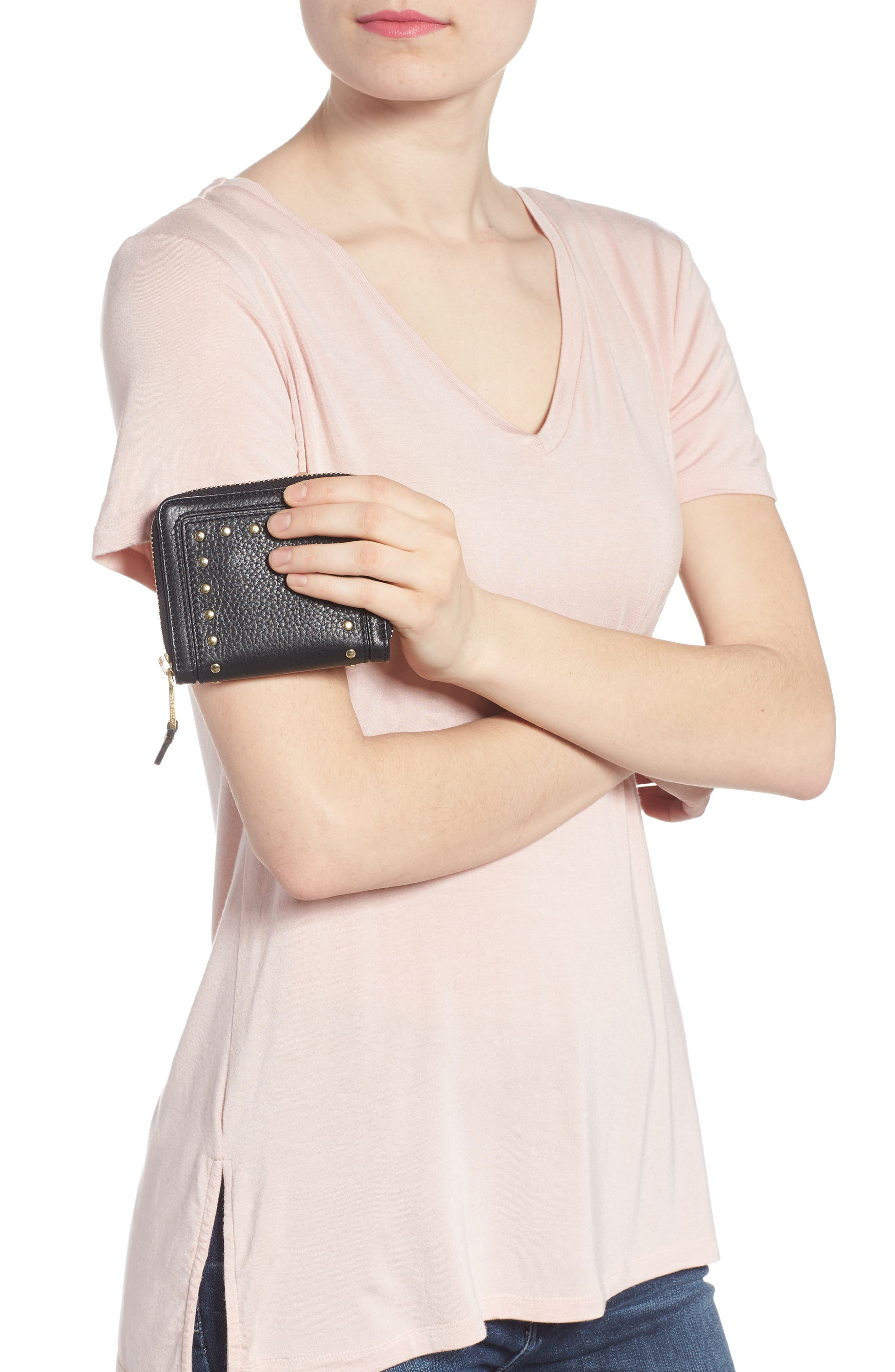 Cassidy Small RFID Leather Zip Wallet,                             Alternate thumbnail 3, color,                             001