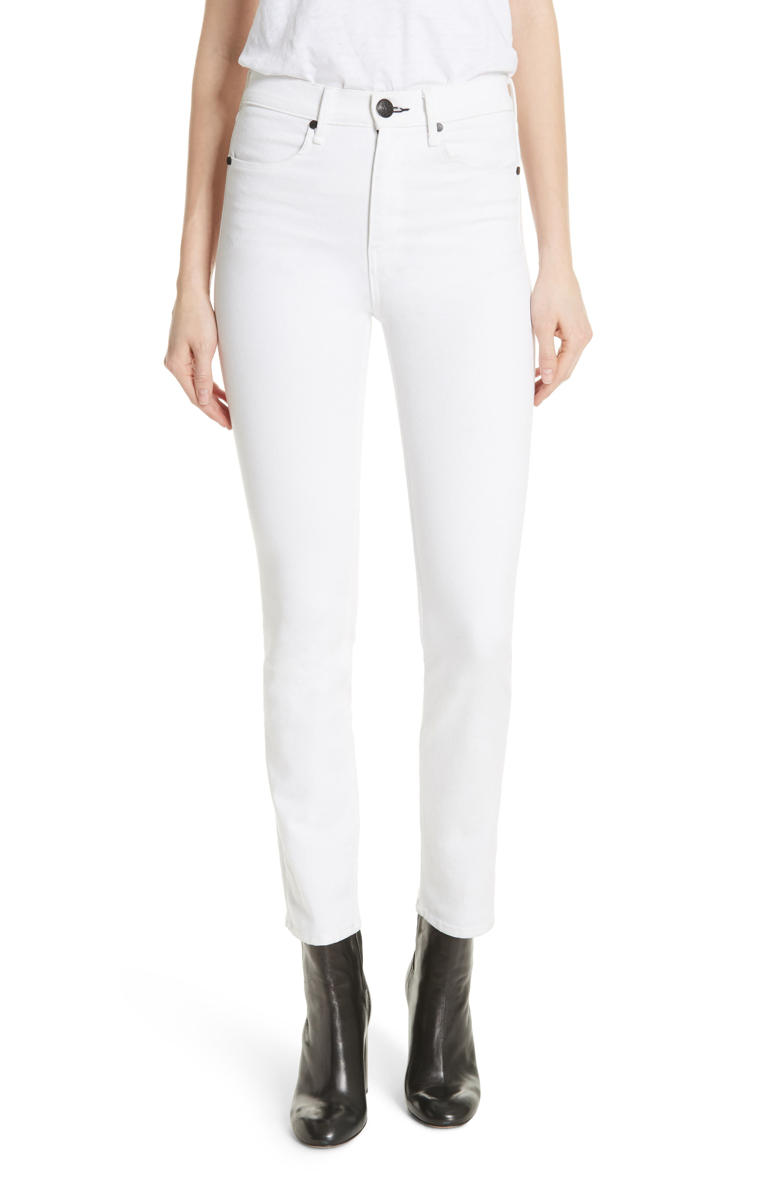 High Waist Ankle Skinny Jeans,                         Main,                         color, 100