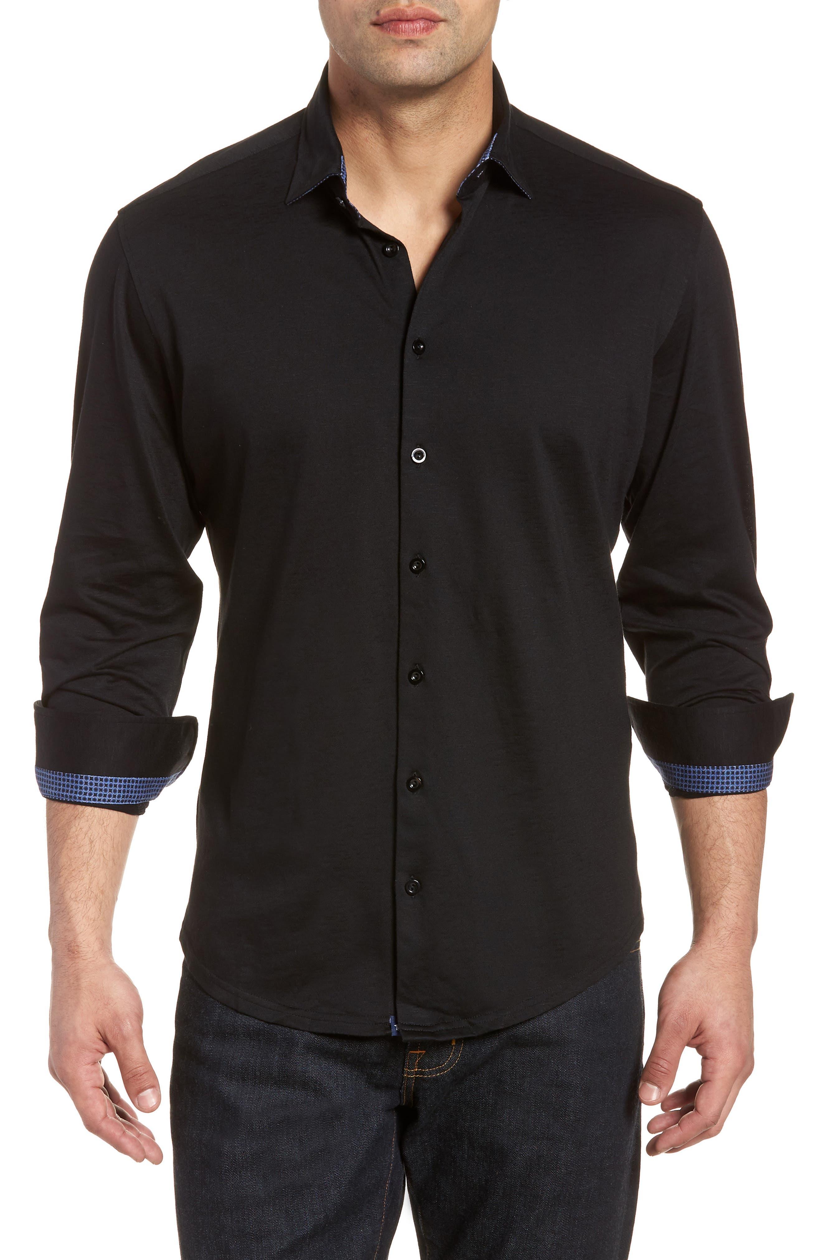 Flame Contemporary Fit Sport Shirt,                         Main,                         color, BLACK