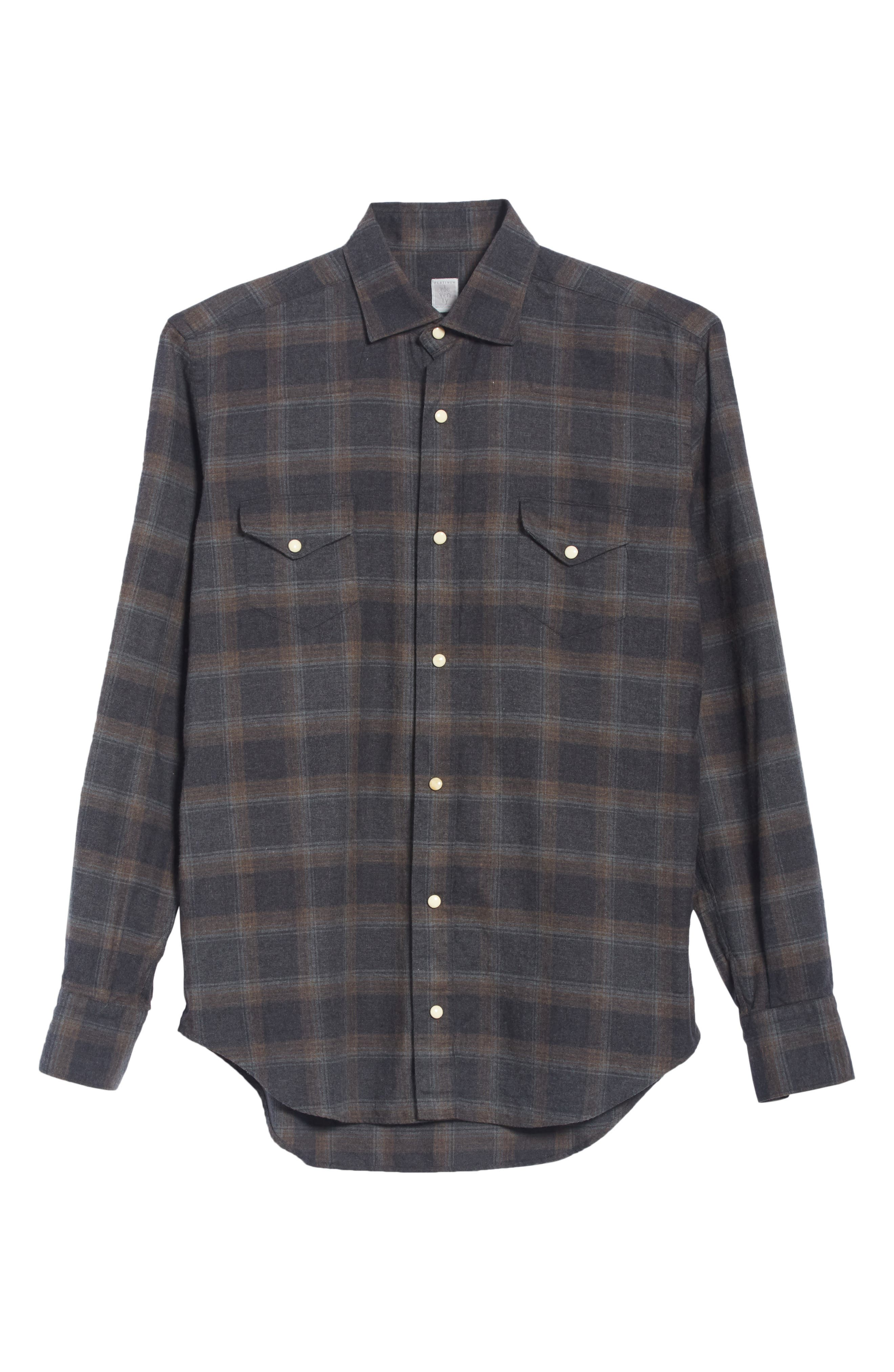 Slim Fit Plaid Western Shirt,                             Alternate thumbnail 6, color,                             GREY/ BROWN