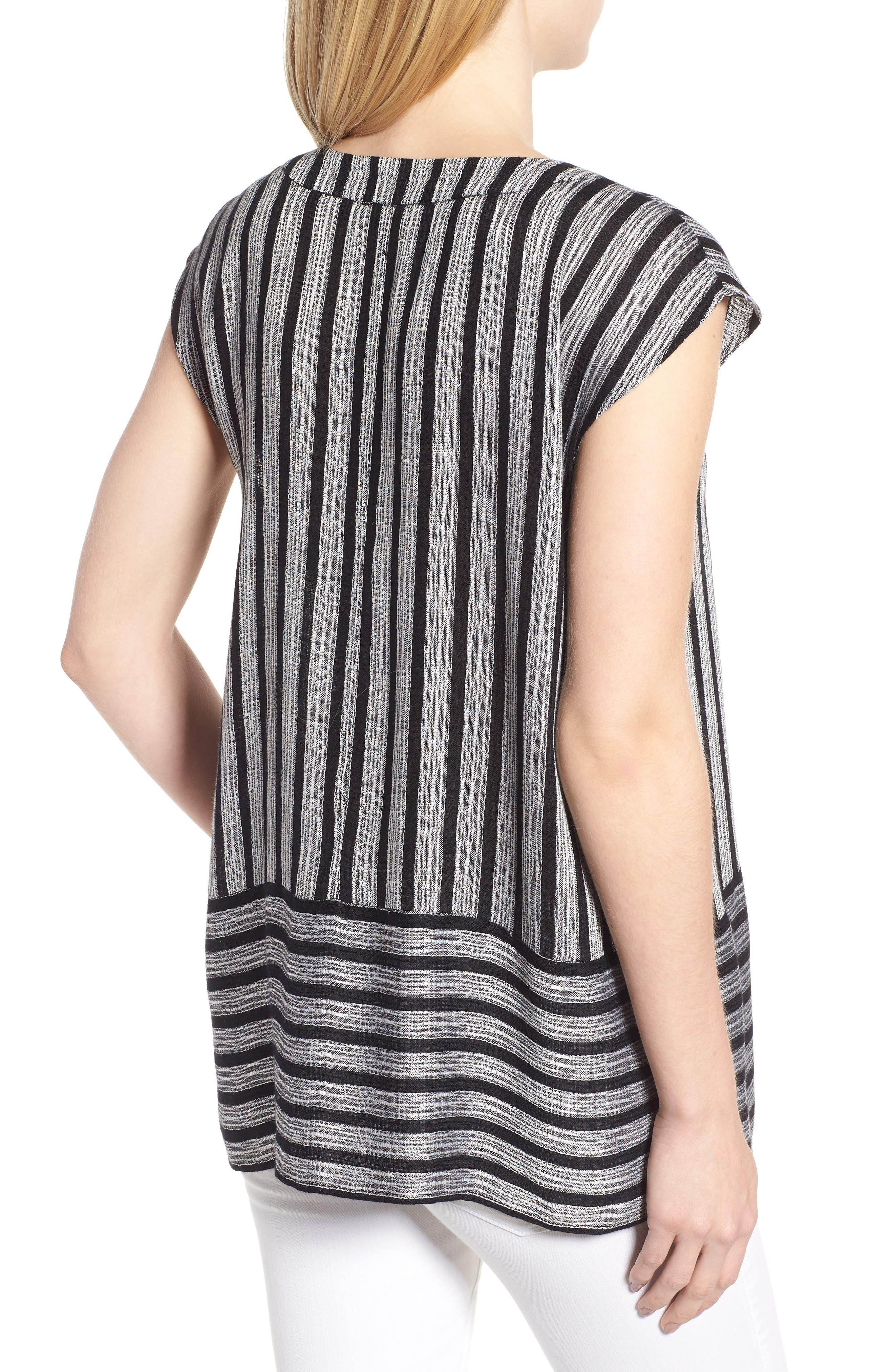 Shine Stripe Drawstring Top,                             Alternate thumbnail 2, color,                             010