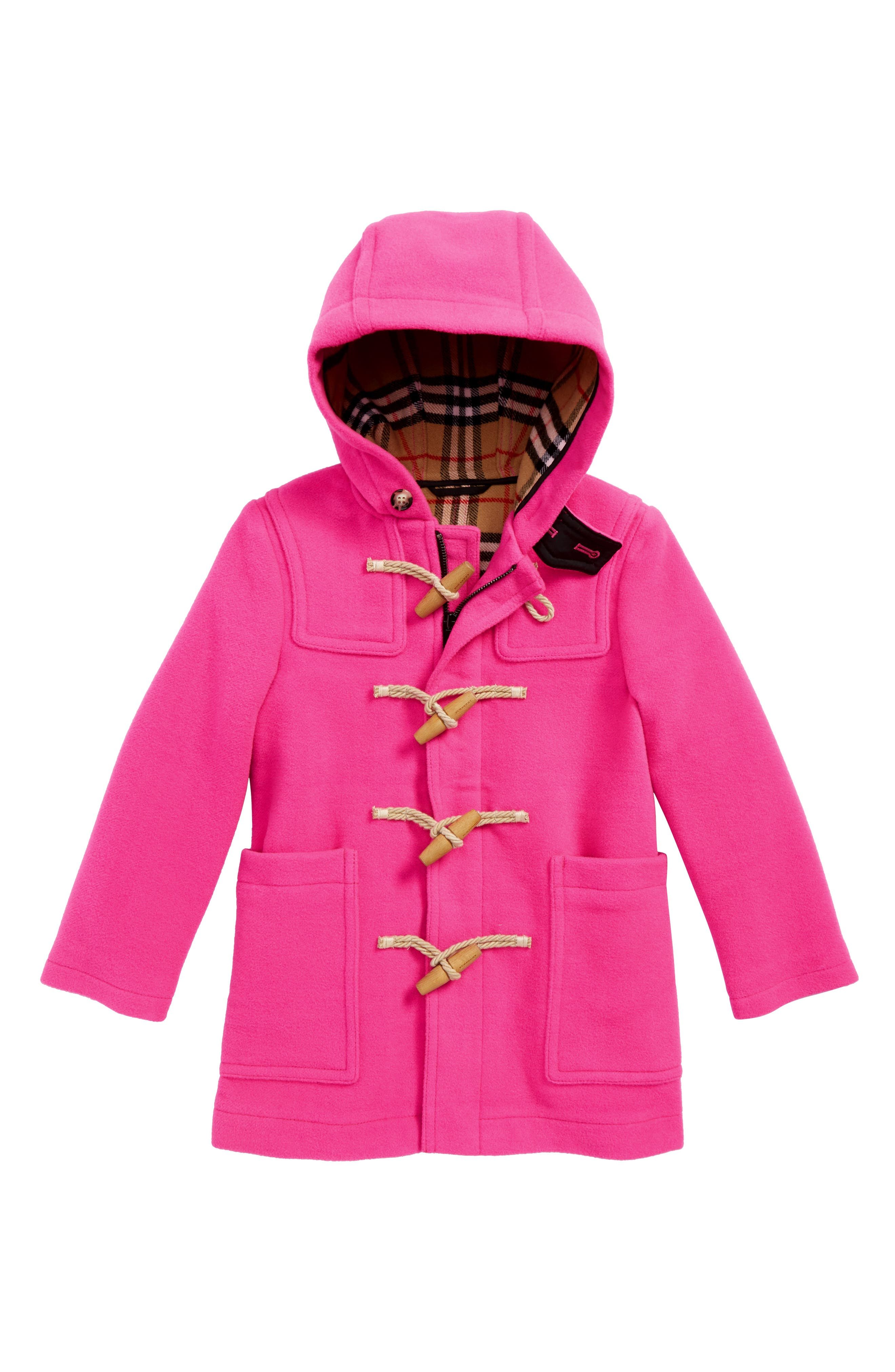 Girls Burberry DoubleFaced Wool Duffle Coat Size 4Y  Pink