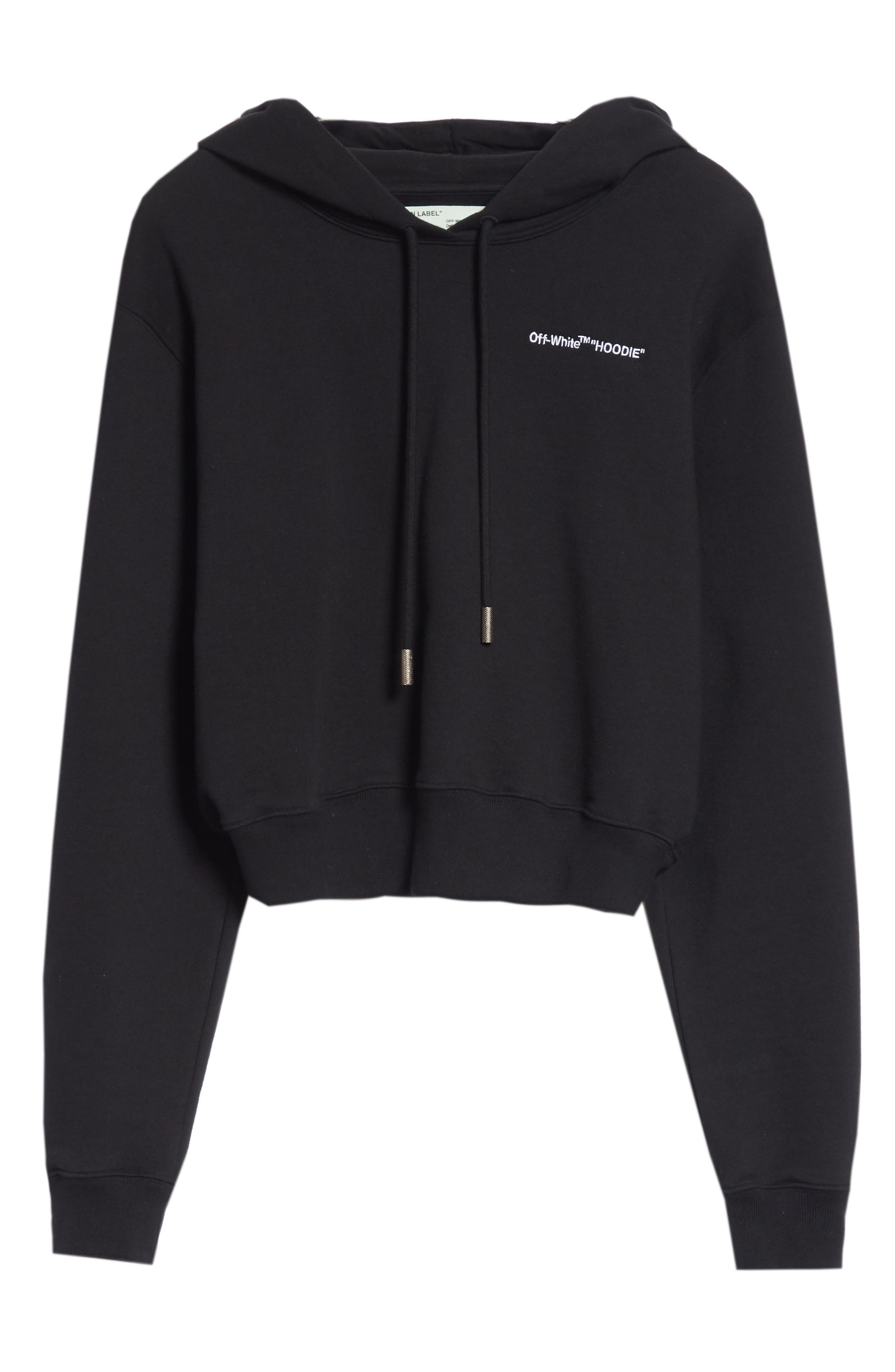 Quotes Crop Hoodie,                             Alternate thumbnail 6, color,                             BLACK WHITE