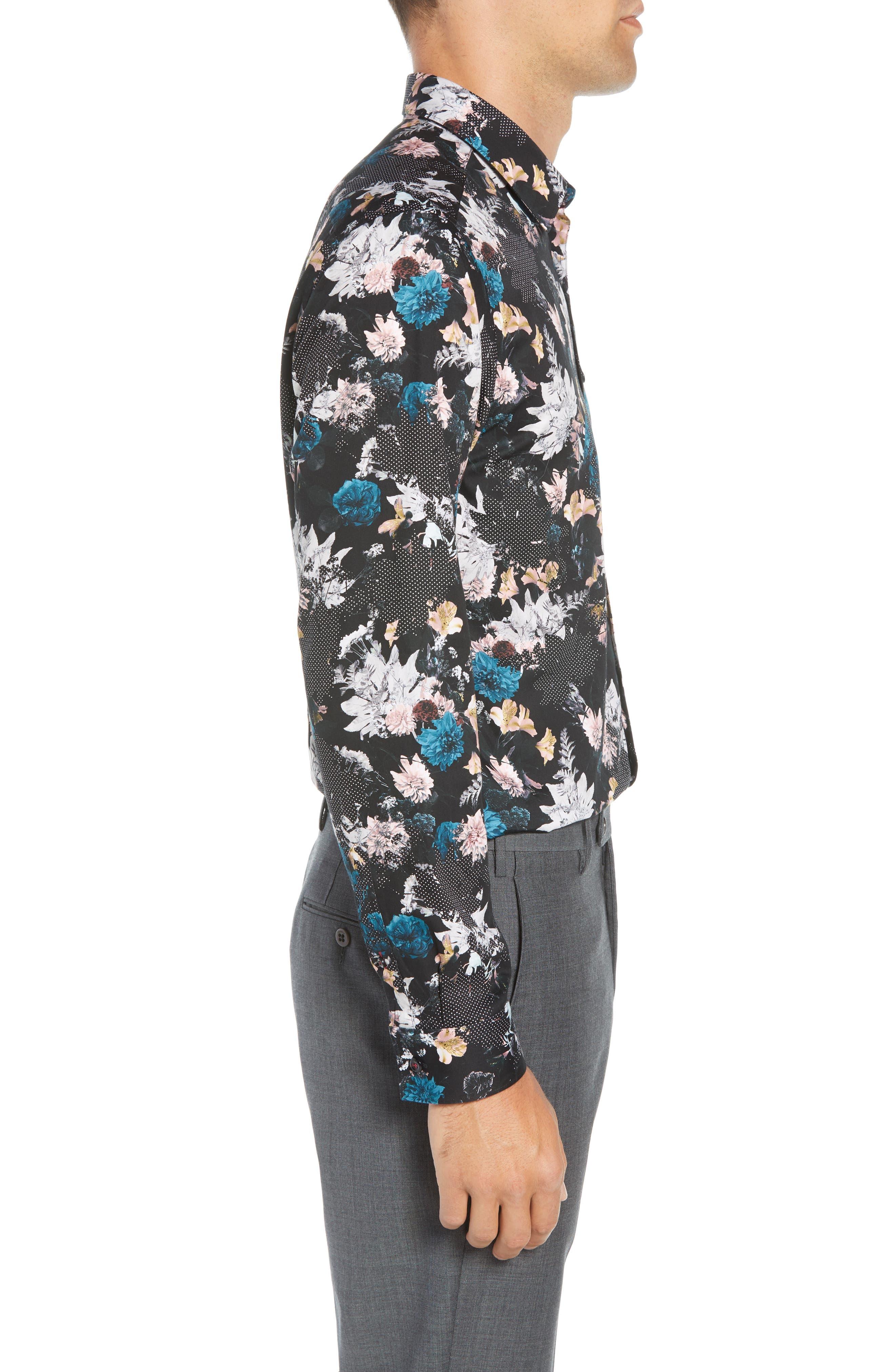 Rhubarb Modern Fit Floral Dress Shirt,                             Alternate thumbnail 4, color,                             BLACK