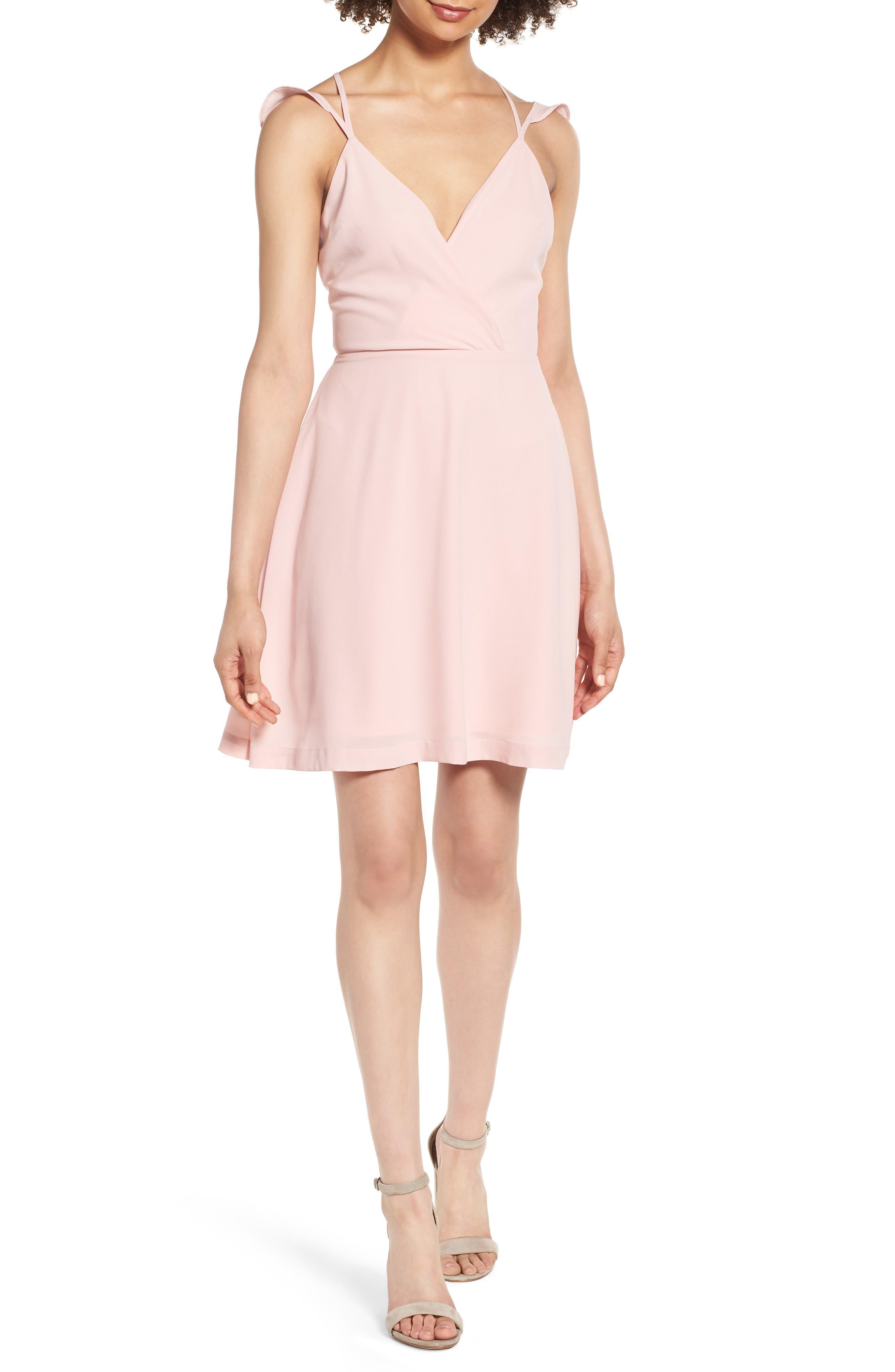 Strappy Surplice Mini Dress,                             Main thumbnail 1, color,                             650