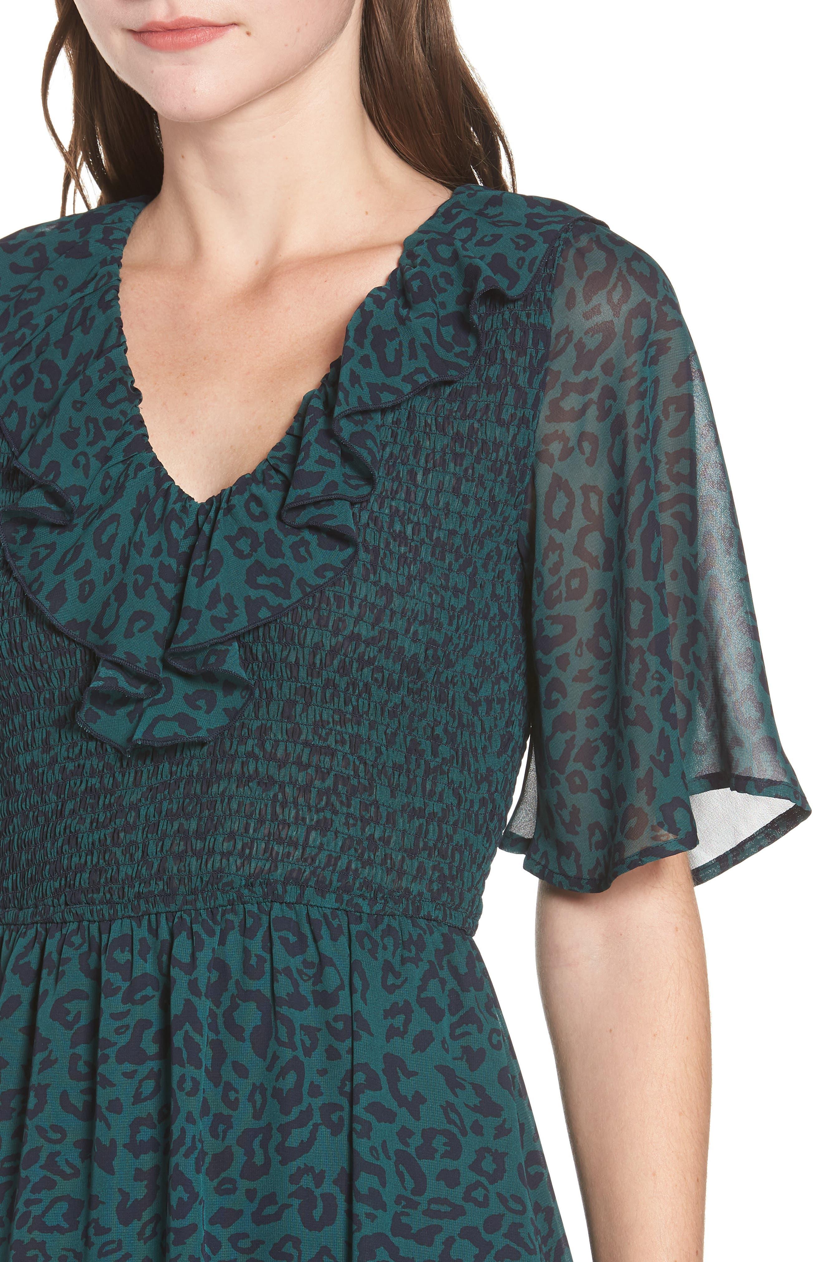 Leopard Print Smocked Dress,                             Alternate thumbnail 4, color,                             GREEN LEOPARD