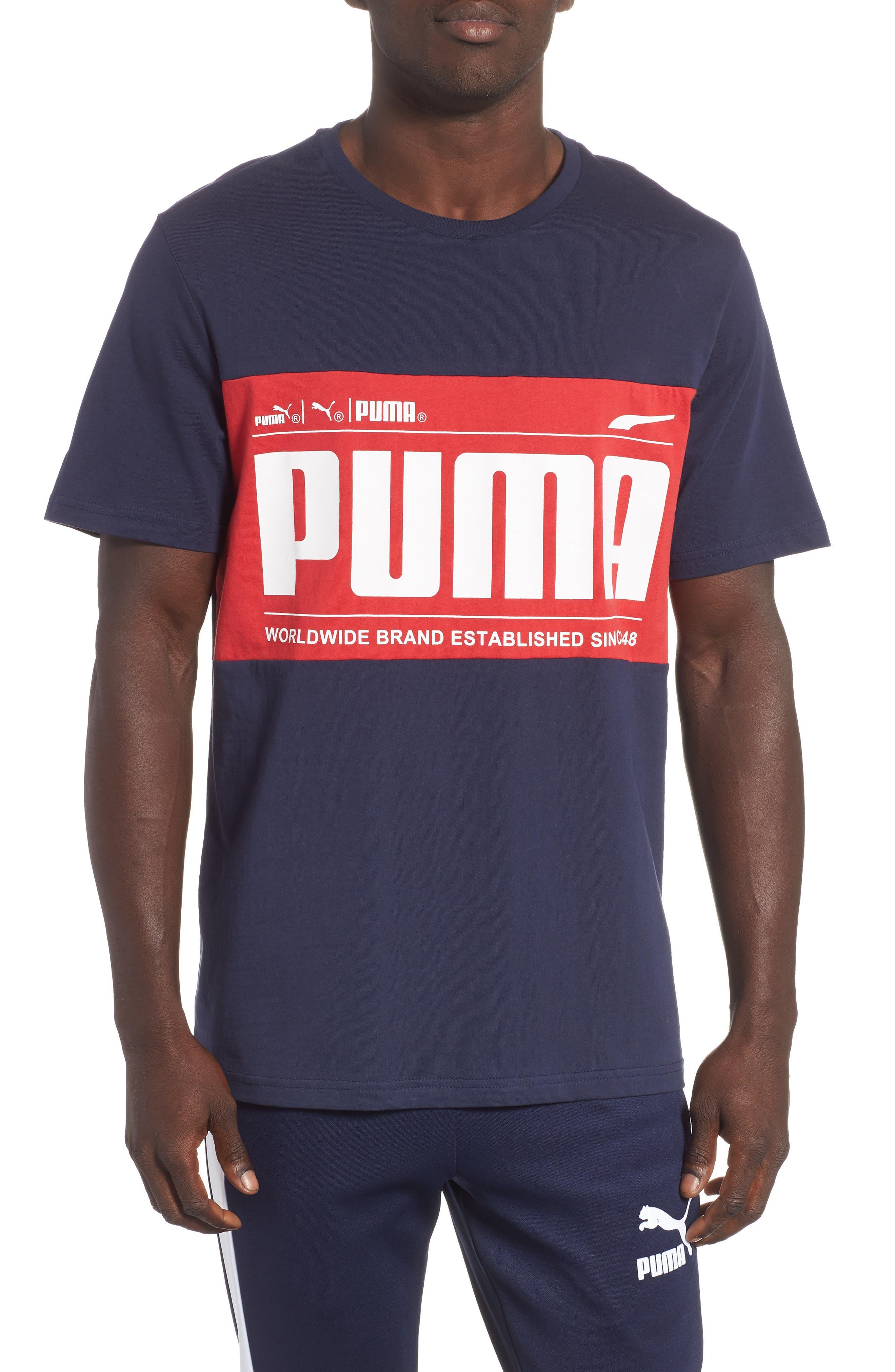 Puma Graphic Logoblock T-Shirt, Blue
