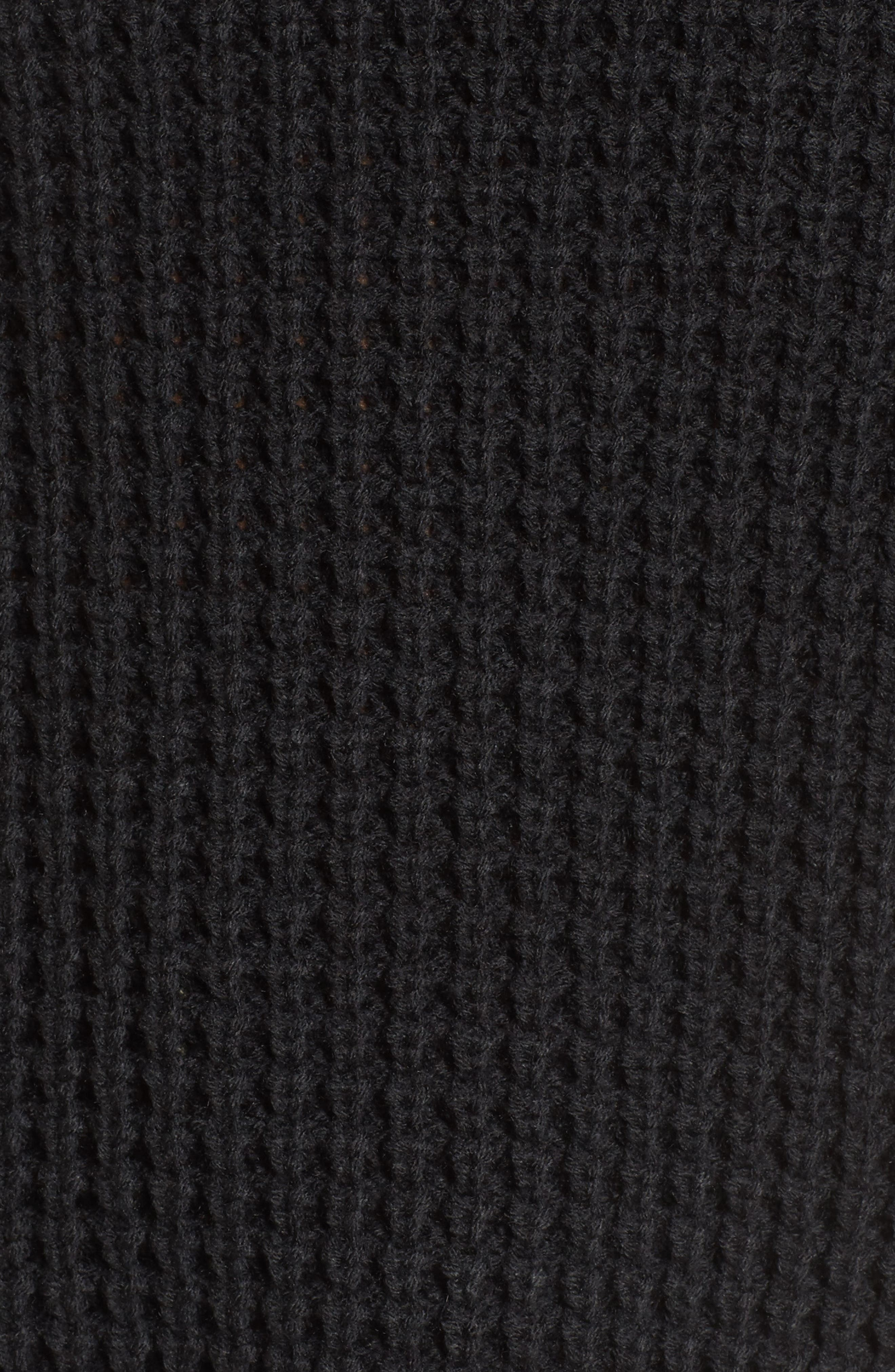 Cowl Neck Thermal Stitch Sweater,                             Alternate thumbnail 5, color,                             001