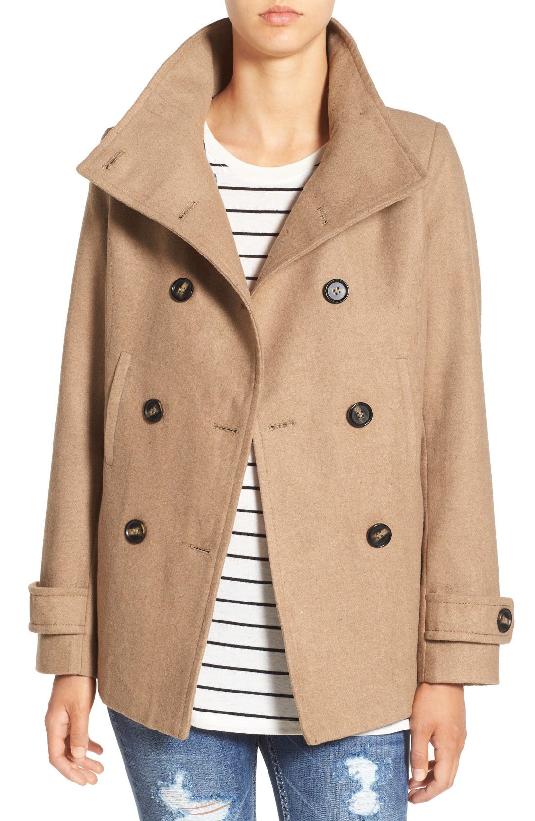 Double Breasted Peacoat,                             Main thumbnail 1, color,                             CAMEL