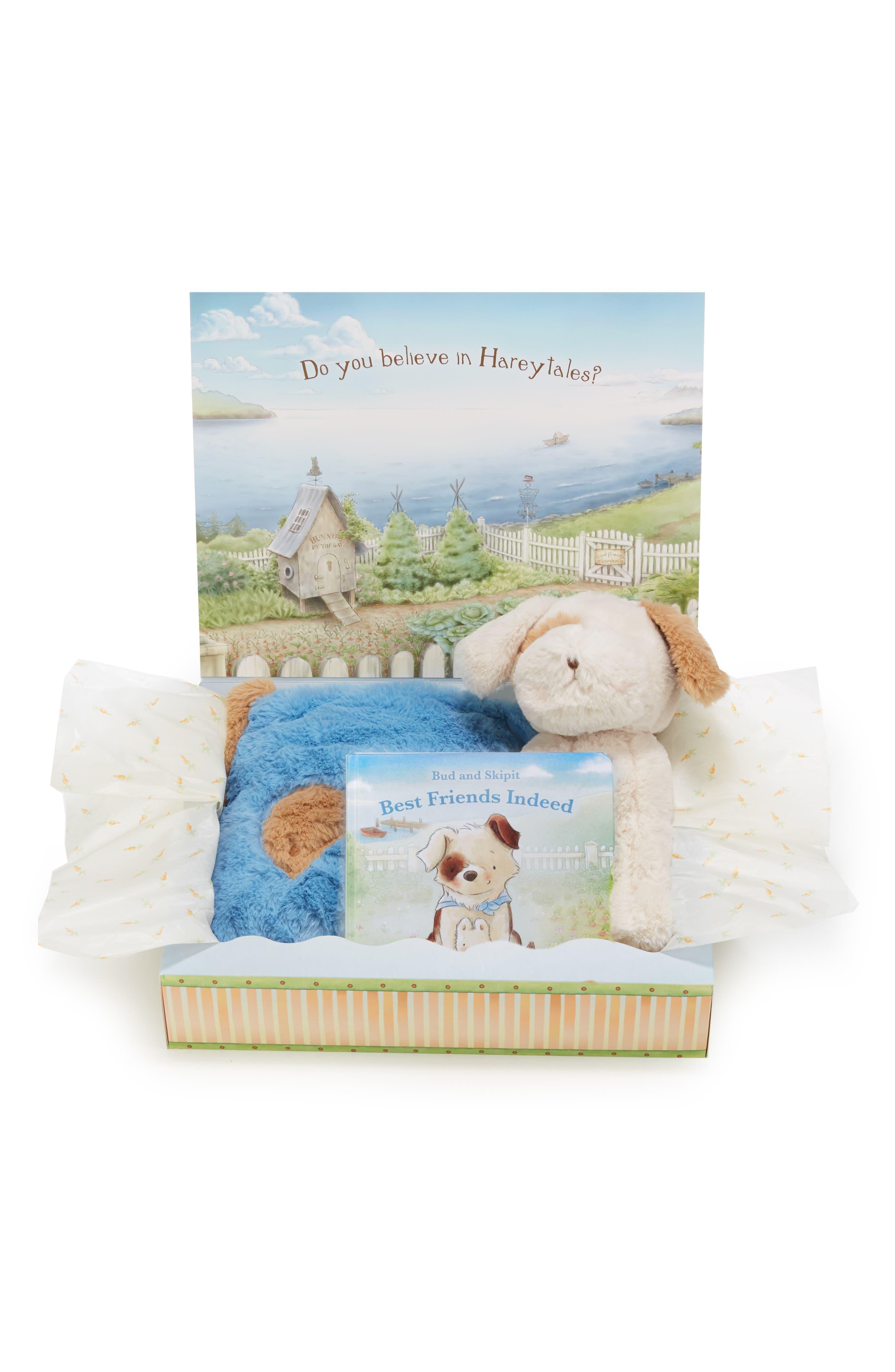 Infant Bunnies By The Bay Best Friends Tuck Me In Blanket Stuffed Animal  Board Book Set