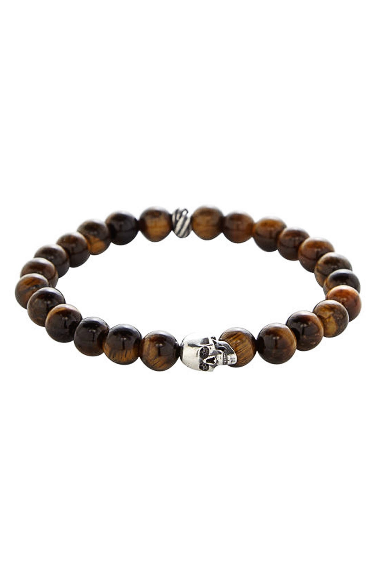 Stone Bead Stretch Bracelet,                         Main,                         color, BROWN