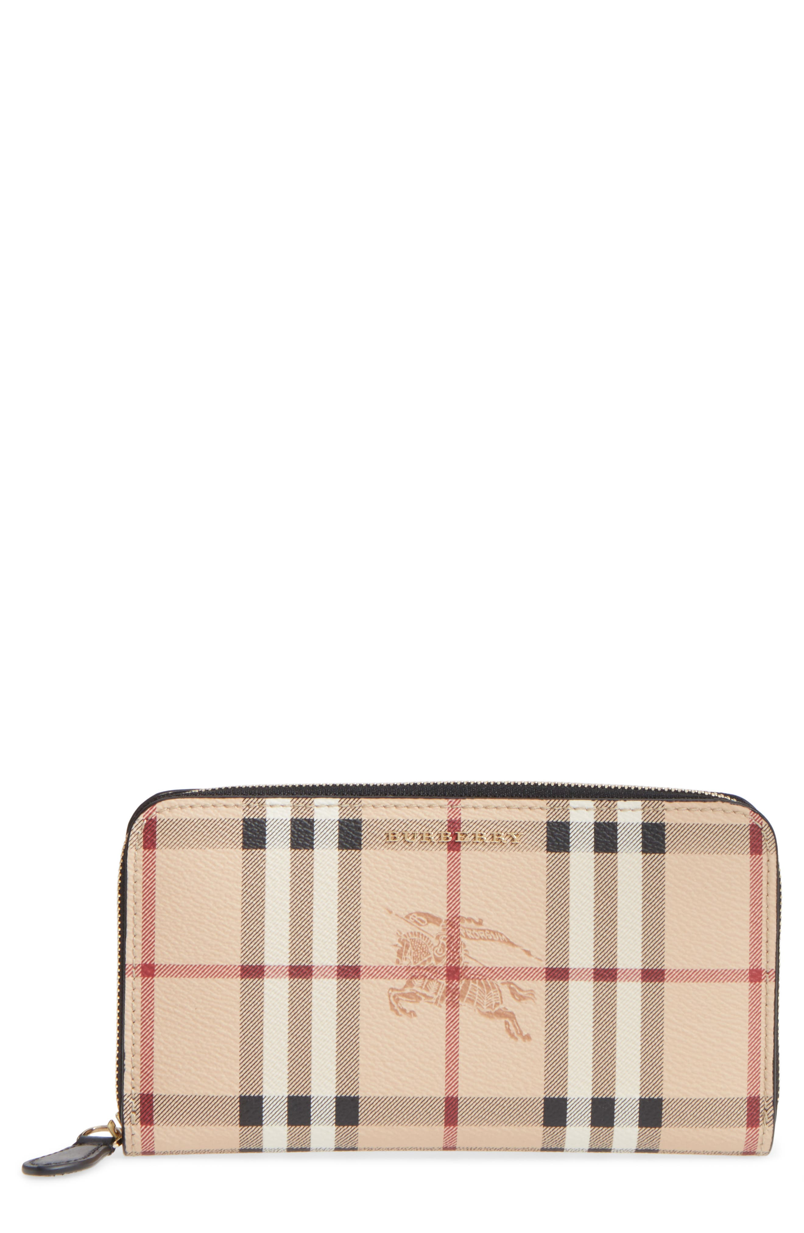 Elmore Check Coated Canvas & Leather Zip Around Wallet,                         Main,                         color, 001
