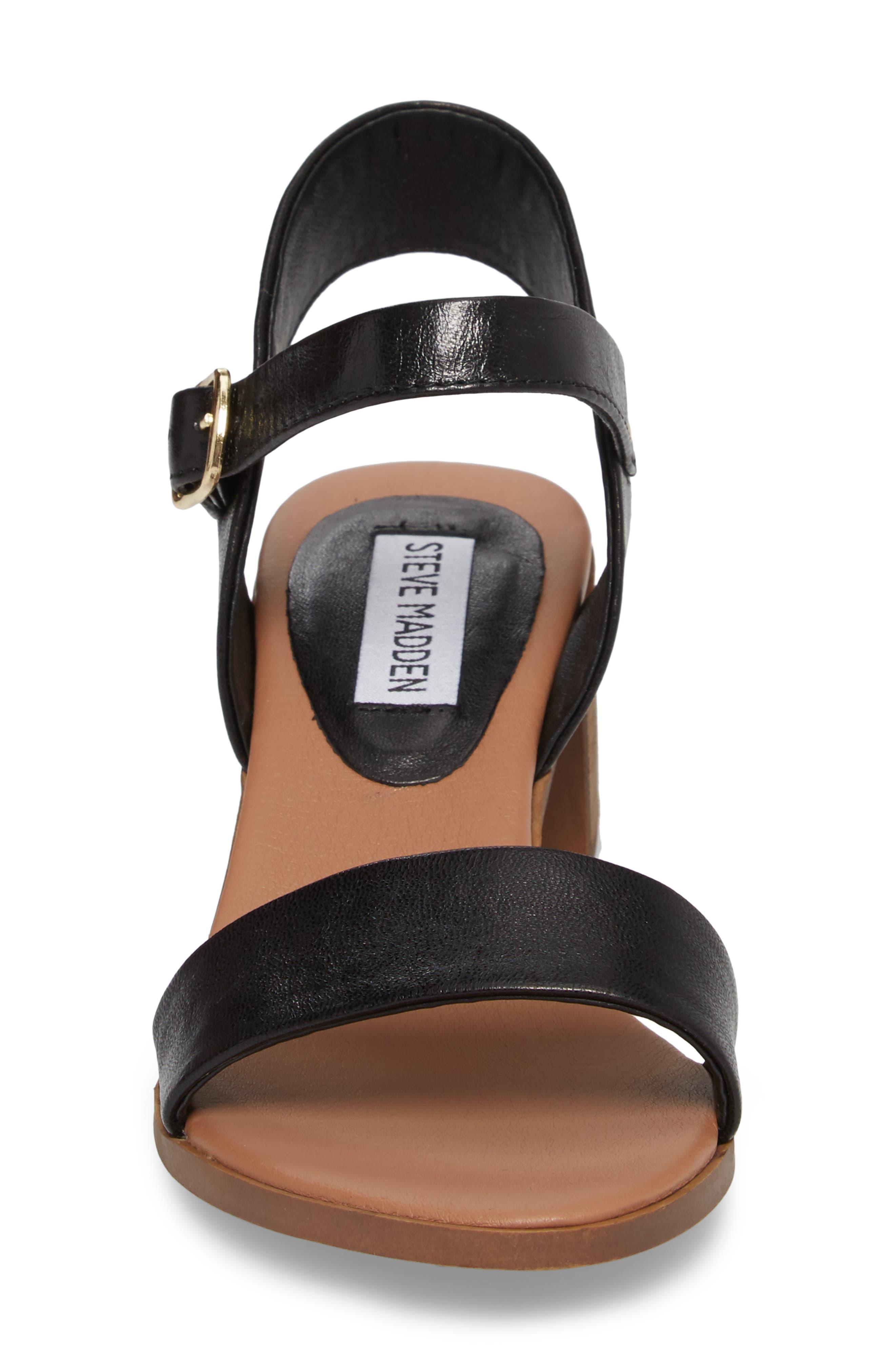 April Block Heel Sandal,                             Alternate thumbnail 4, color,                             BLACK LEATHER