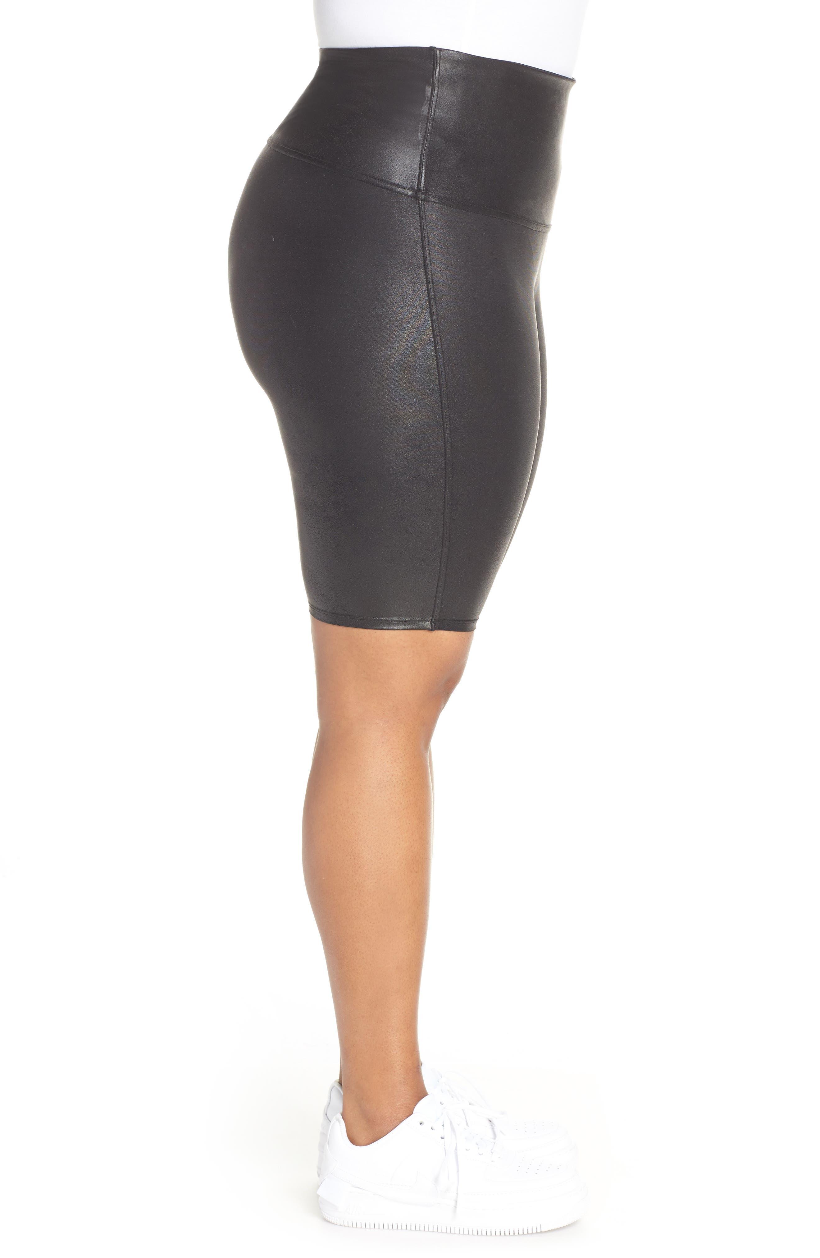 Faux Leather Bike Shorts,                             Alternate thumbnail 3, color,                             BLACK