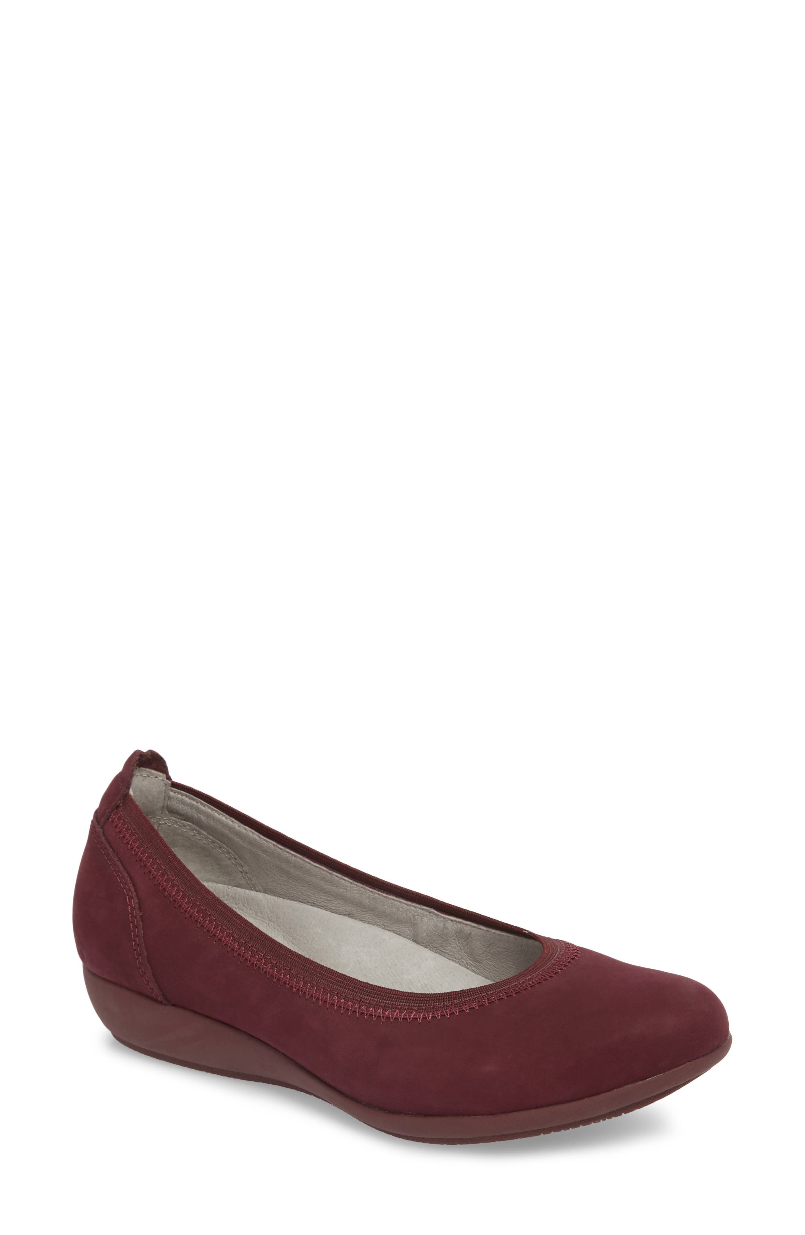 Kristen Ballet Flat, Main, color, WINE MILLED NUBUCK