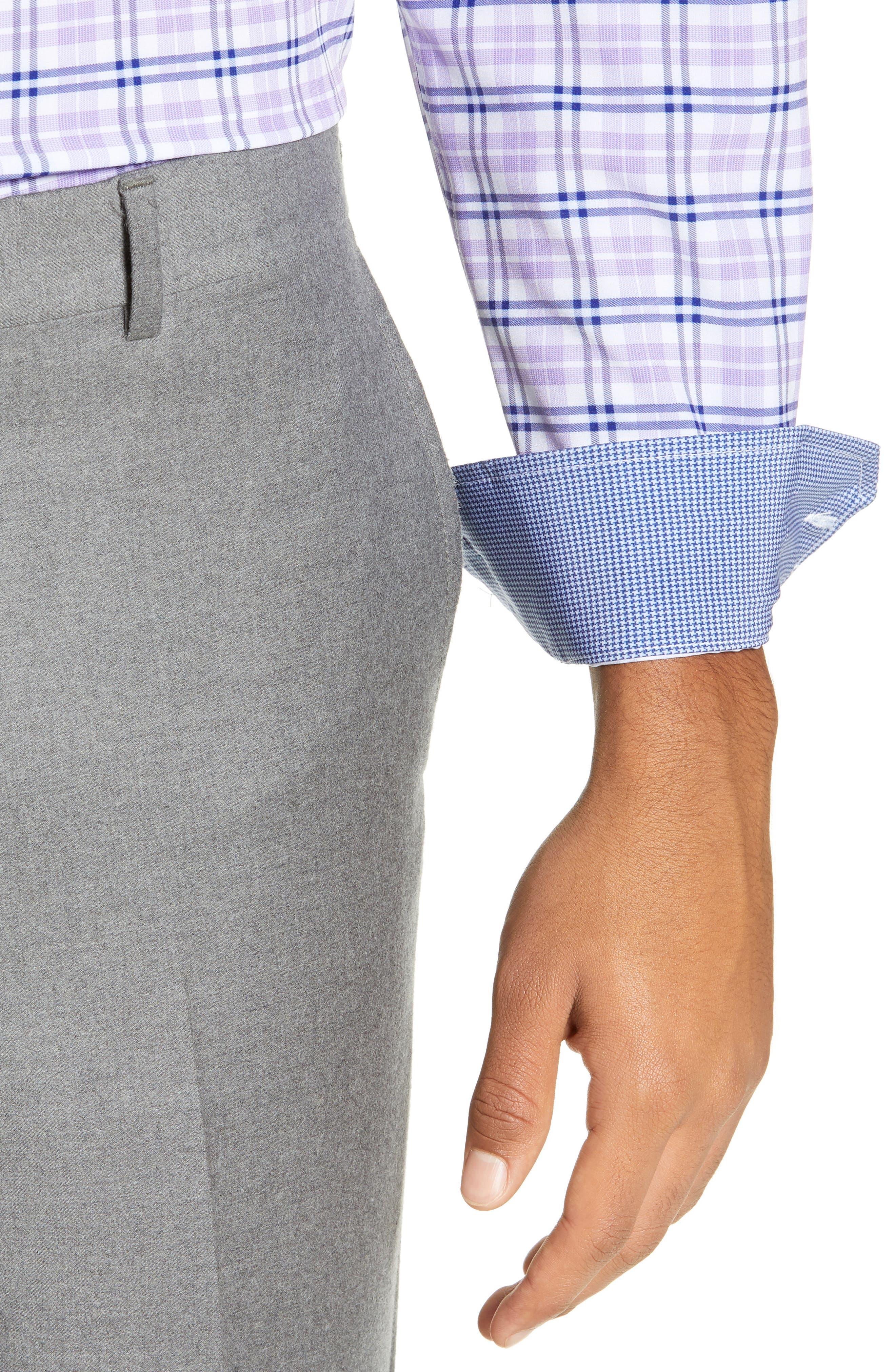 Trim Fit 4-Way Stretch Plaid Dress Shirt,                             Alternate thumbnail 2, color,                             PURPLE