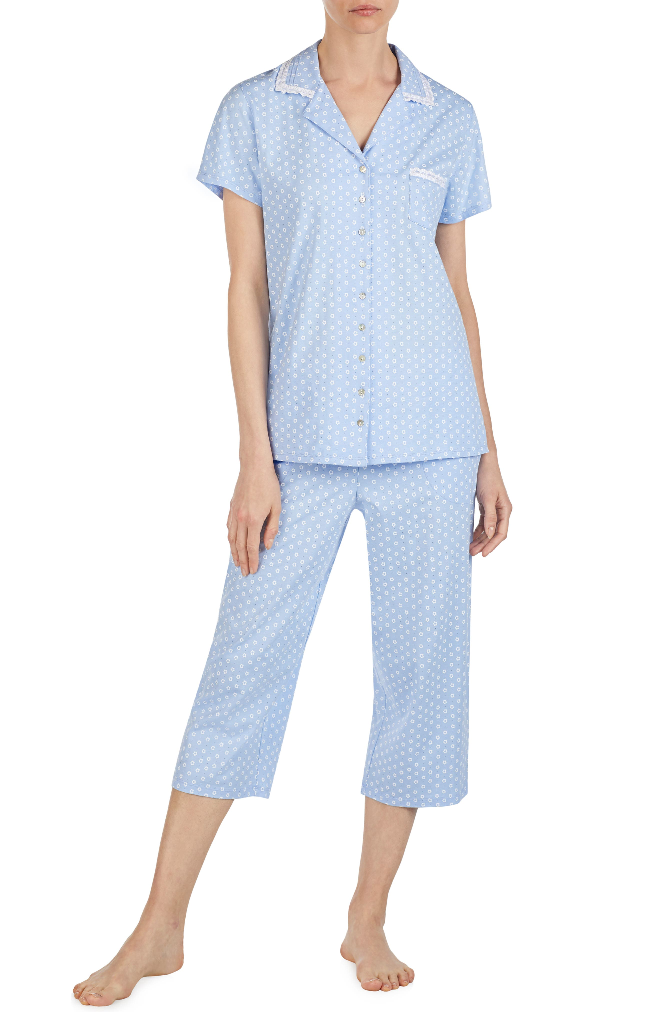 Eileen West Cropped Jersey Pajamas, Blue