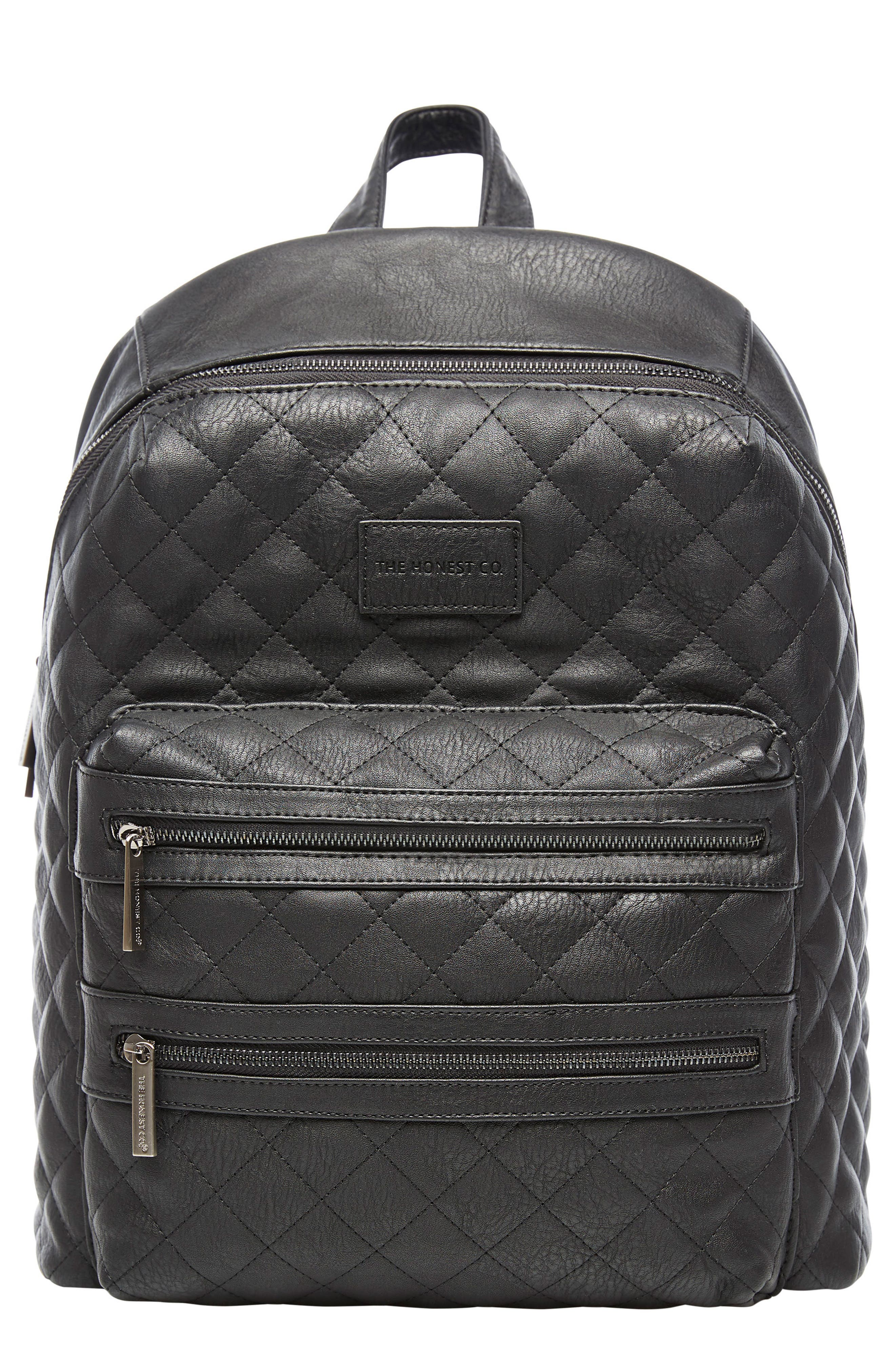 City Quilted Faux Leather Diaper Backpack,                             Main thumbnail 1, color,                             001