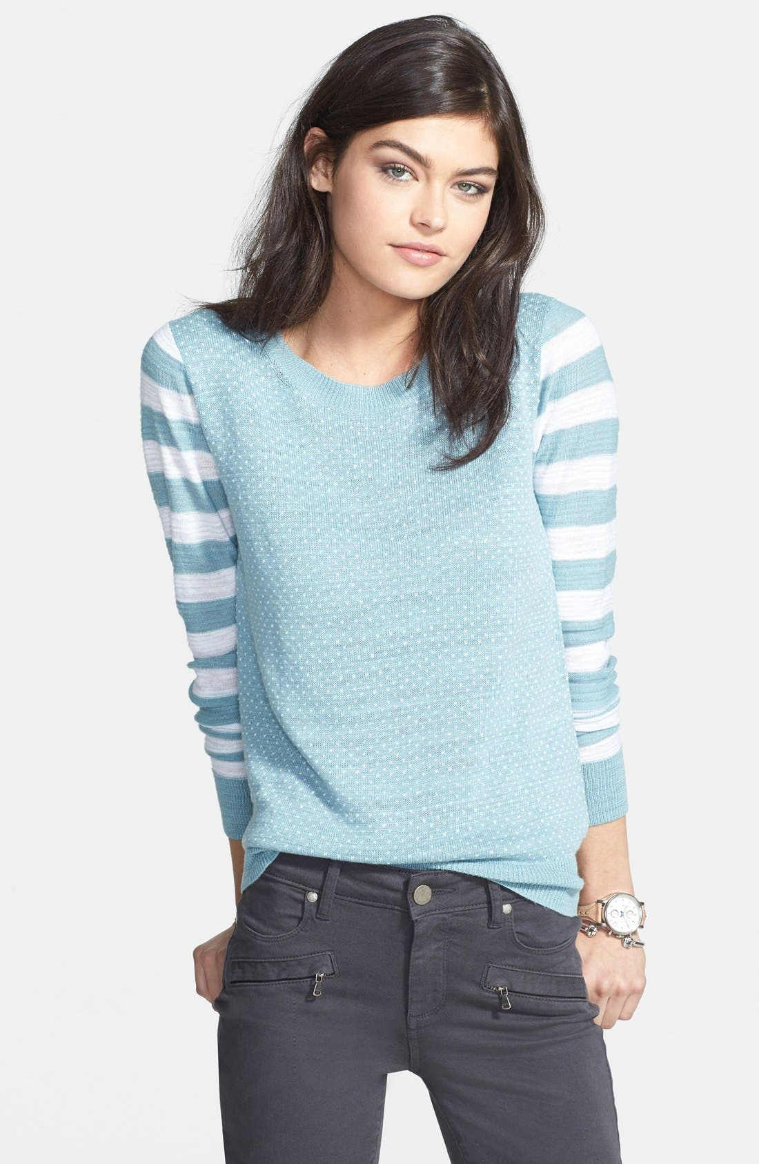 Mixed Pattern Knit Sweater,                             Main thumbnail 1, color,                             400
