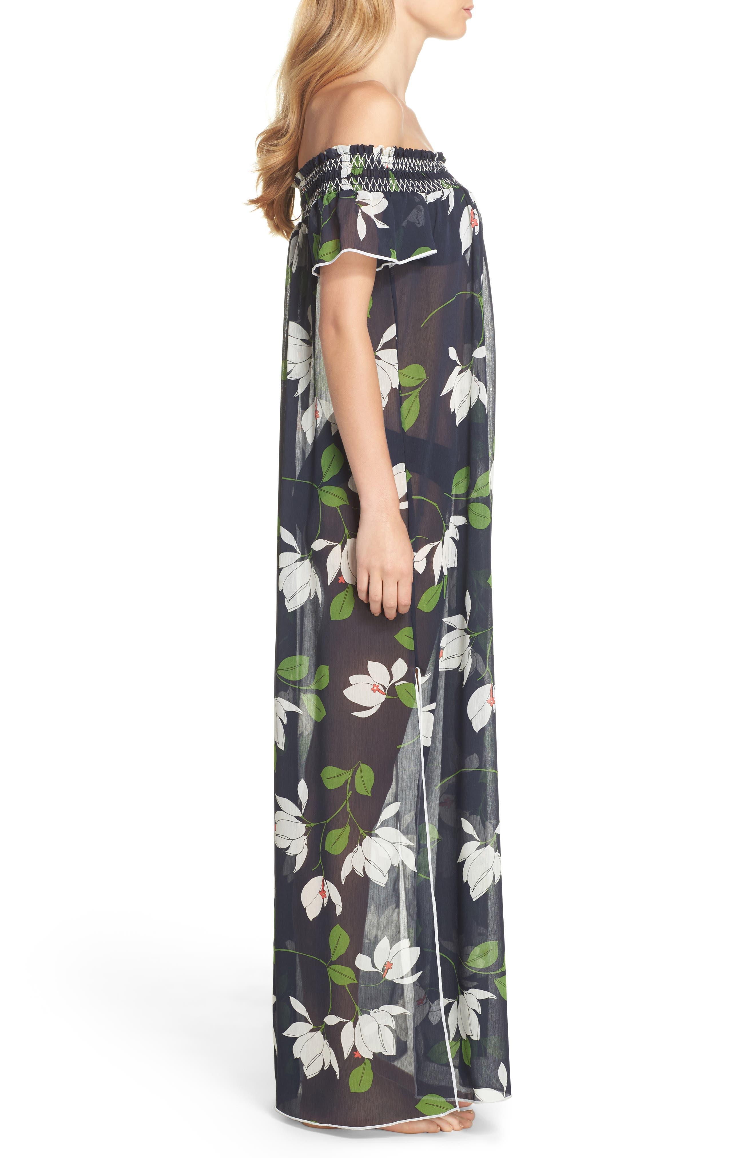 Sheer Off the Shoulder Cover-Up Dress,                             Alternate thumbnail 3, color,