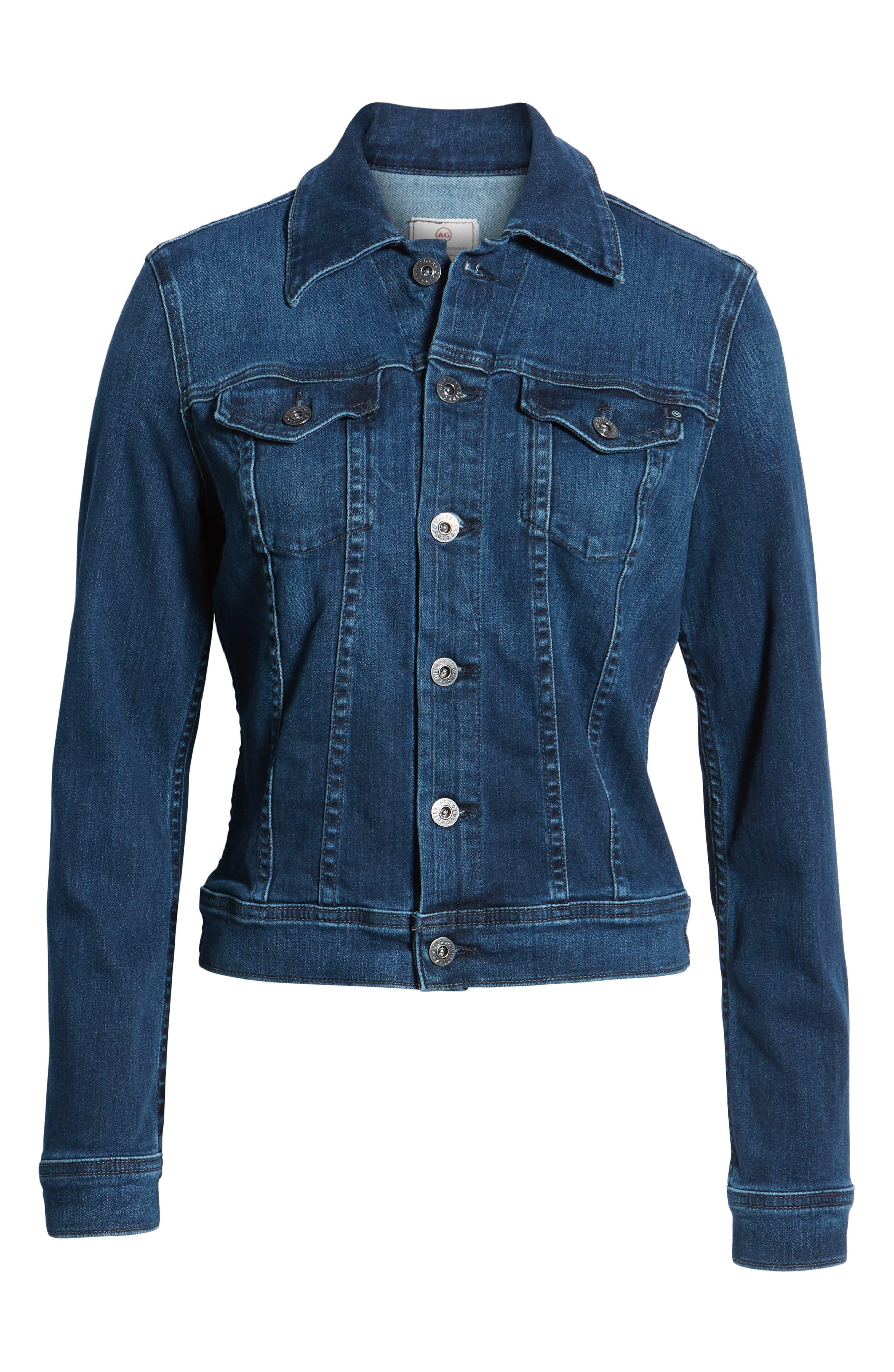 Robyn Crop Denim Jacket,                             Alternate thumbnail 6, color,                             PINNACLE BLUE