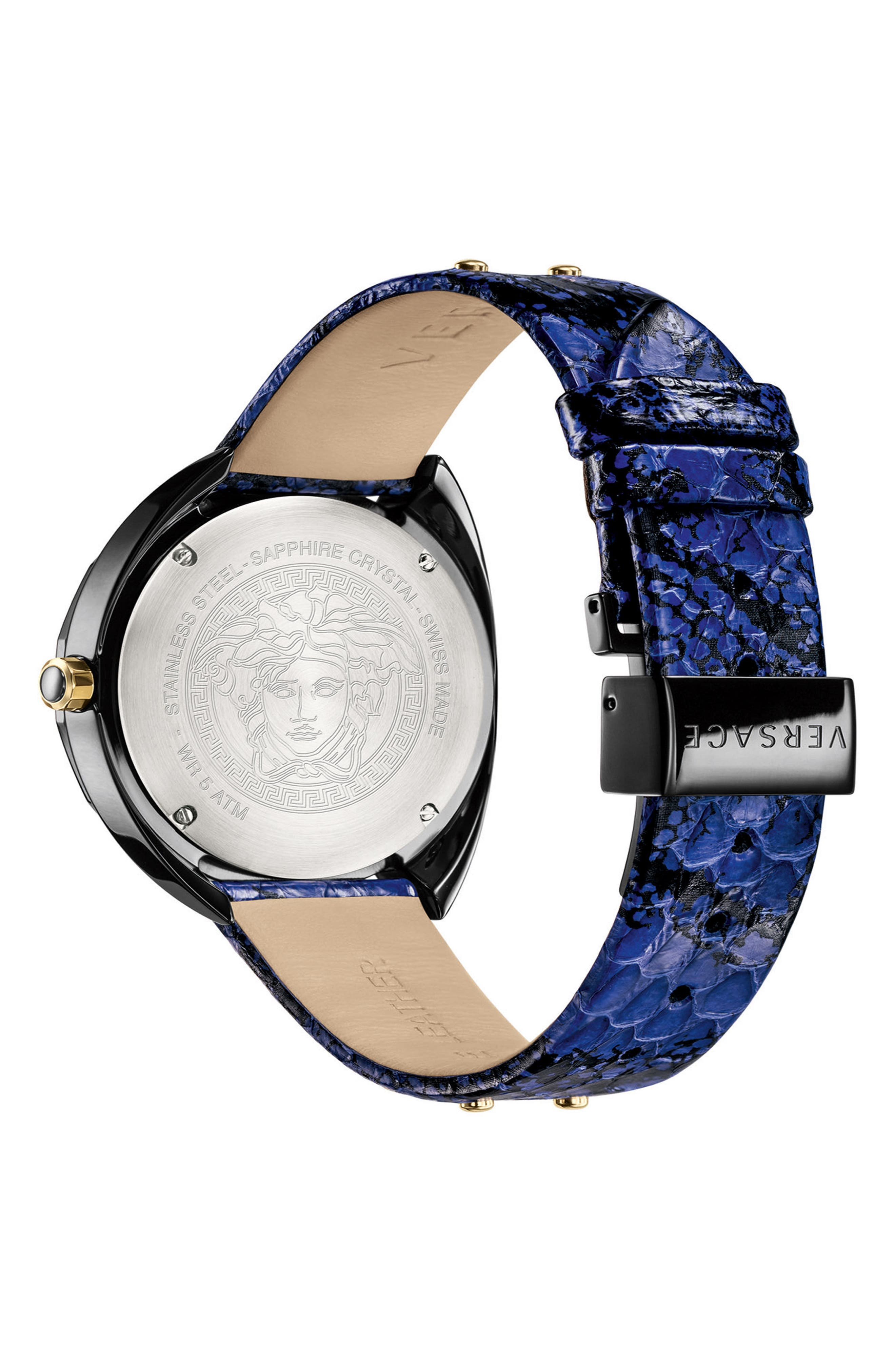 VERSACE,                             Shadov Snakeskin Leather Strap Watch, 38mm,                             Alternate thumbnail 2, color,                             BLUE/ BLACK