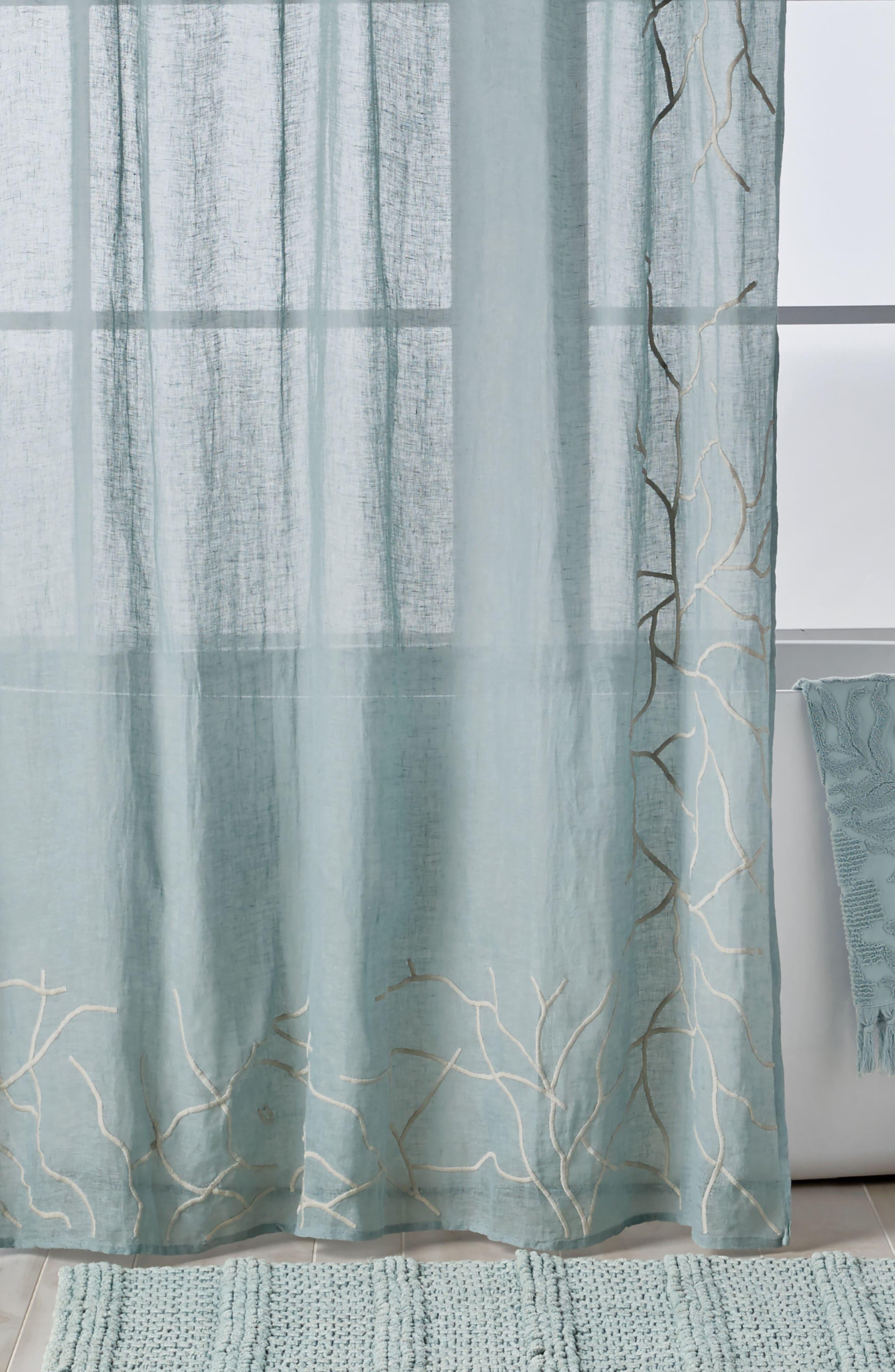 Ocean Reef Shower Curtain,                             Main thumbnail 1, color,                             SEAFOAM