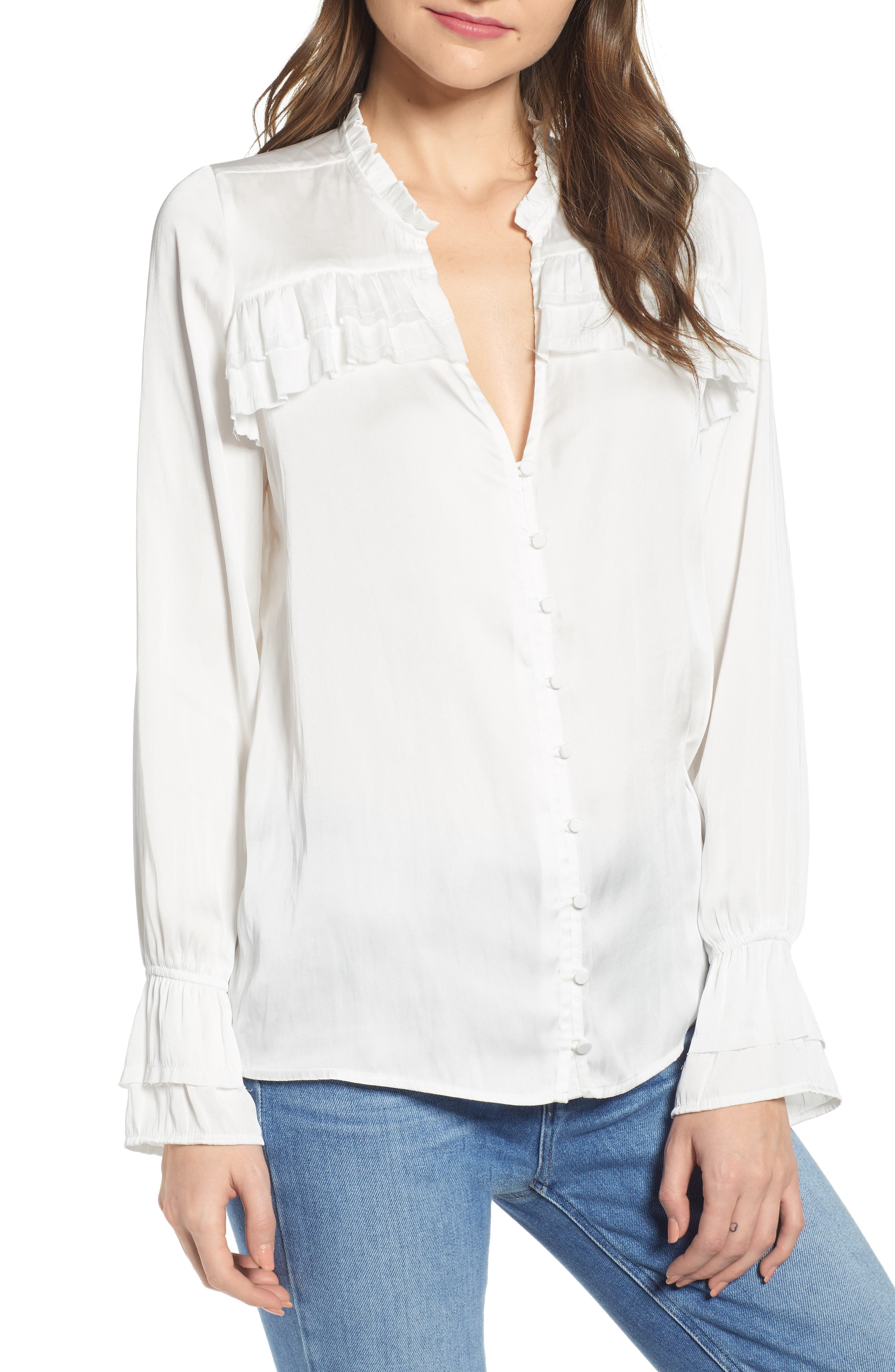 Anguilla Ruffle Yoke Matte Satin Blouse by Paige
