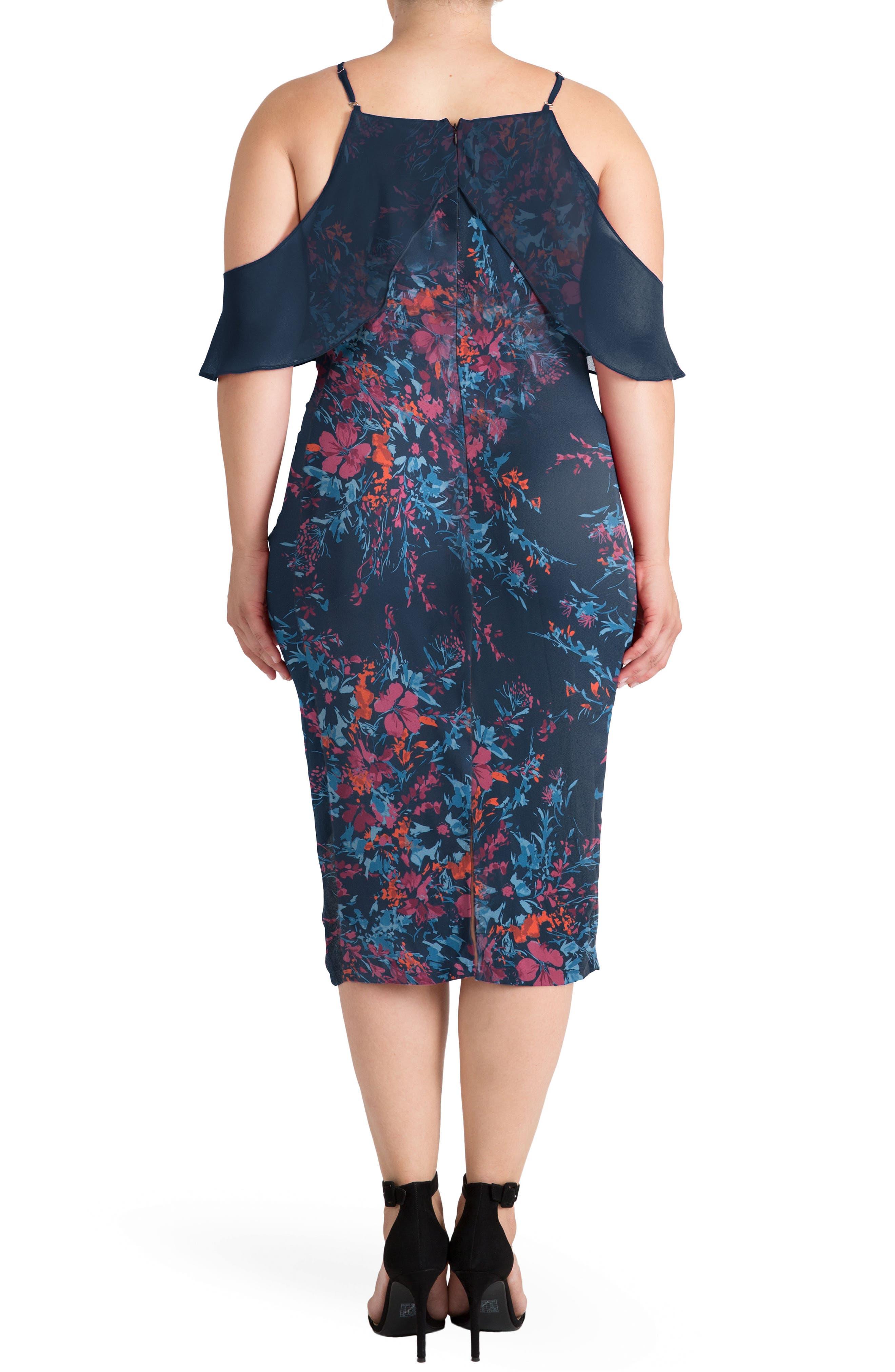 Cold Shoulder Floral Sheath Dress,                             Alternate thumbnail 2, color,                             481