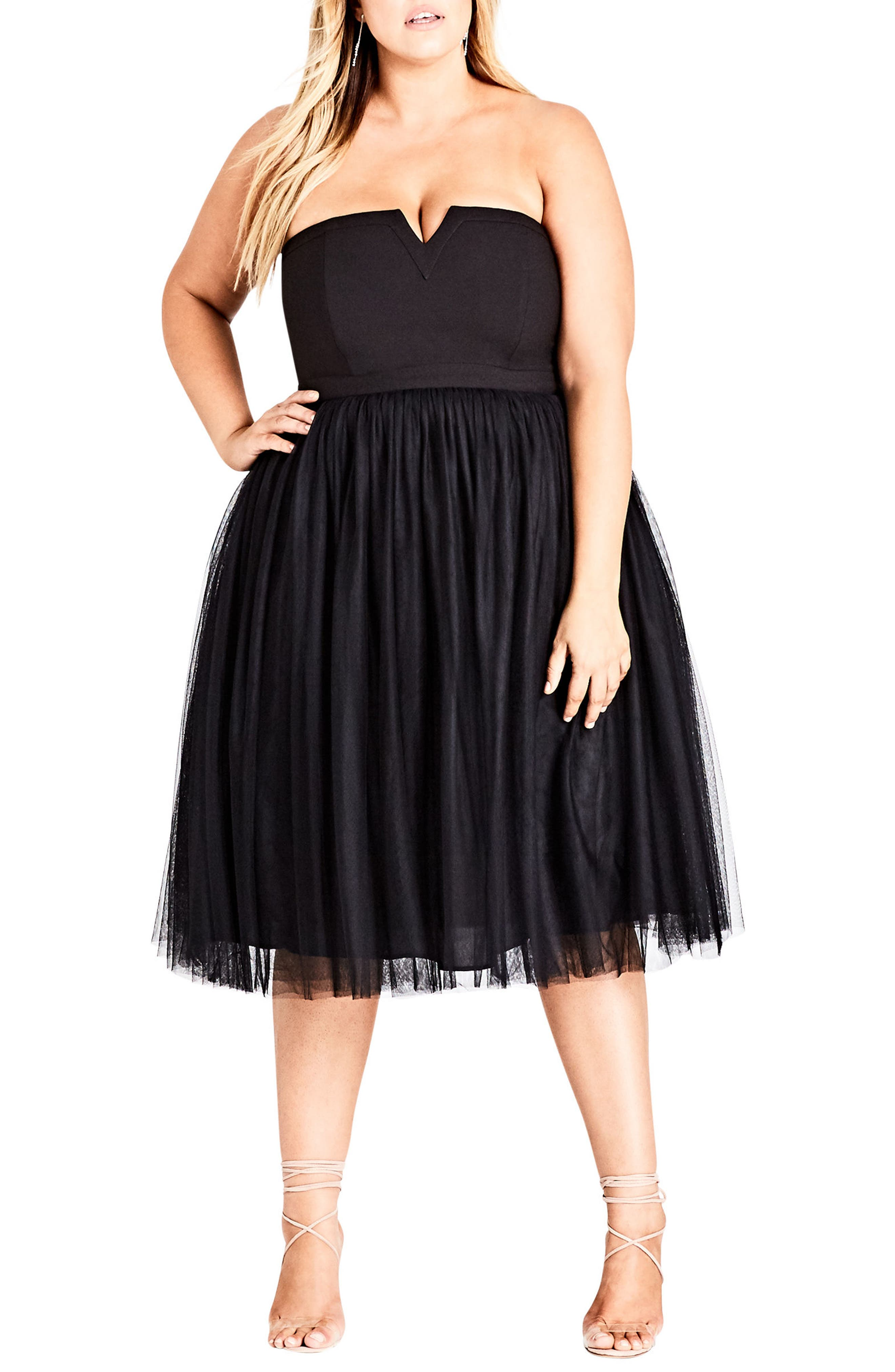 Power Princess Fit & Flare Dress,                             Alternate thumbnail 3, color,                             BLACK