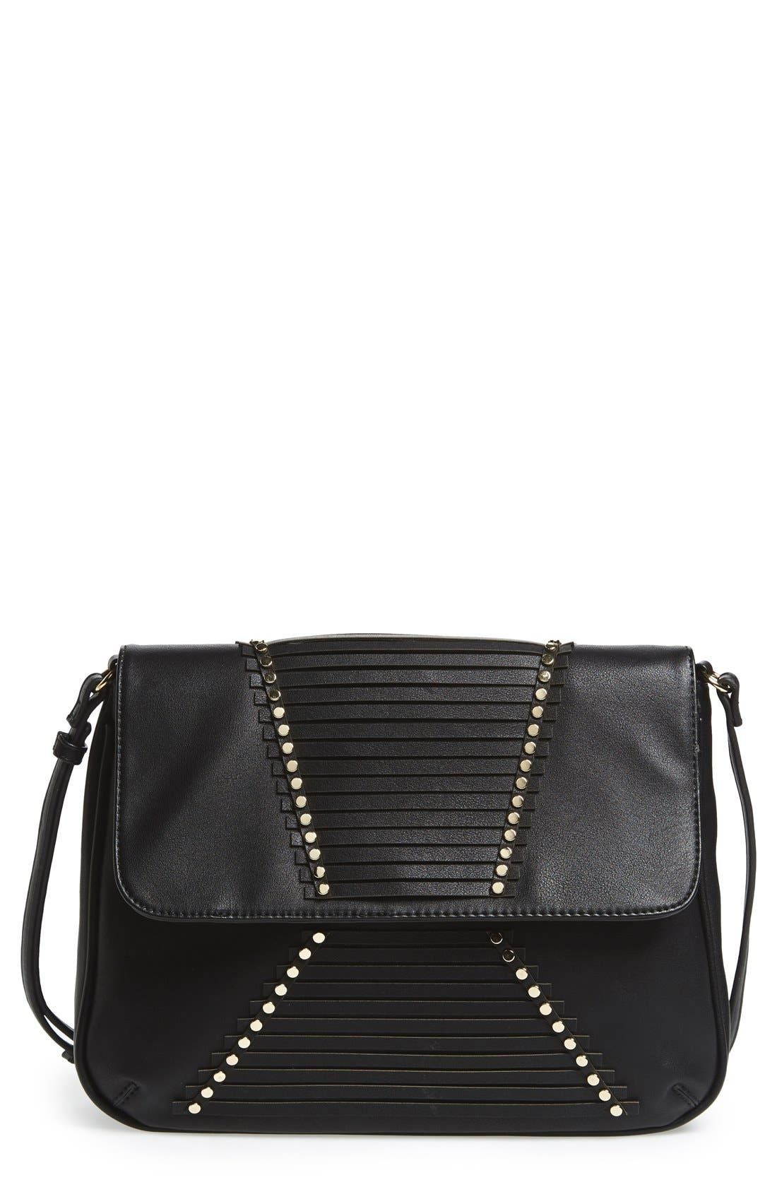'Larissa' Studded Flap Faux Leather Crossbody Bag,                             Main thumbnail 1, color,                             001