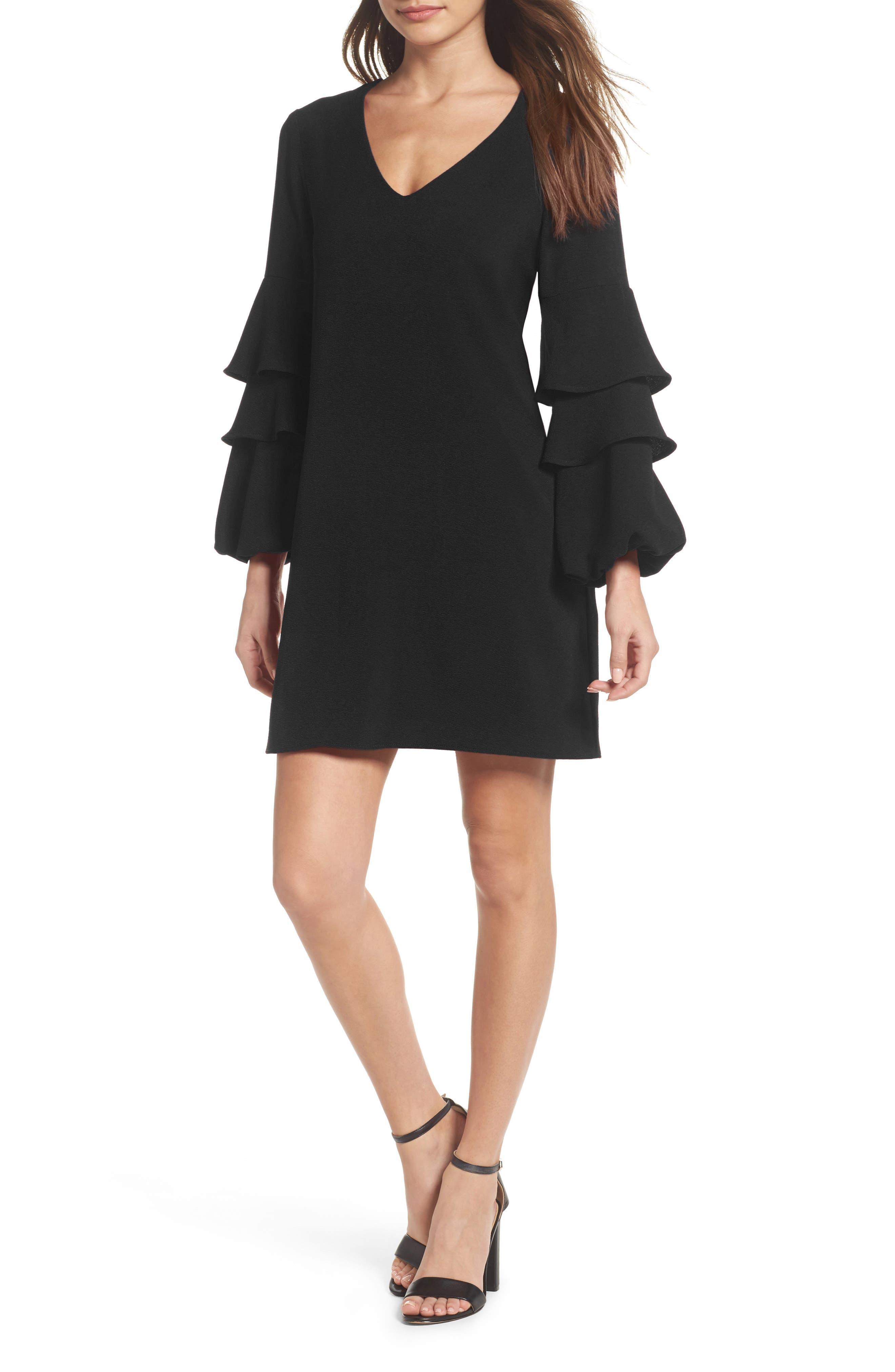 Tiered Ruffle Sleeve Dress,                             Alternate thumbnail 6, color,                             BLACK